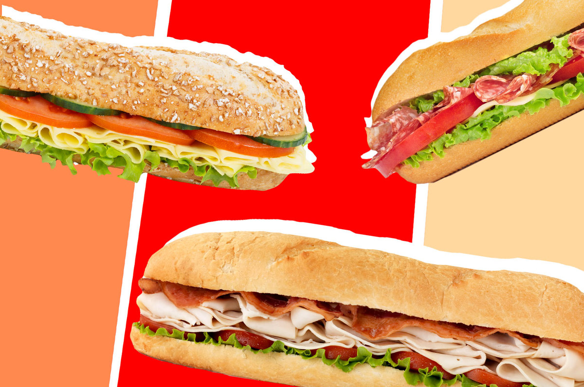 A collage of three sub sandwiches on a red and orange background