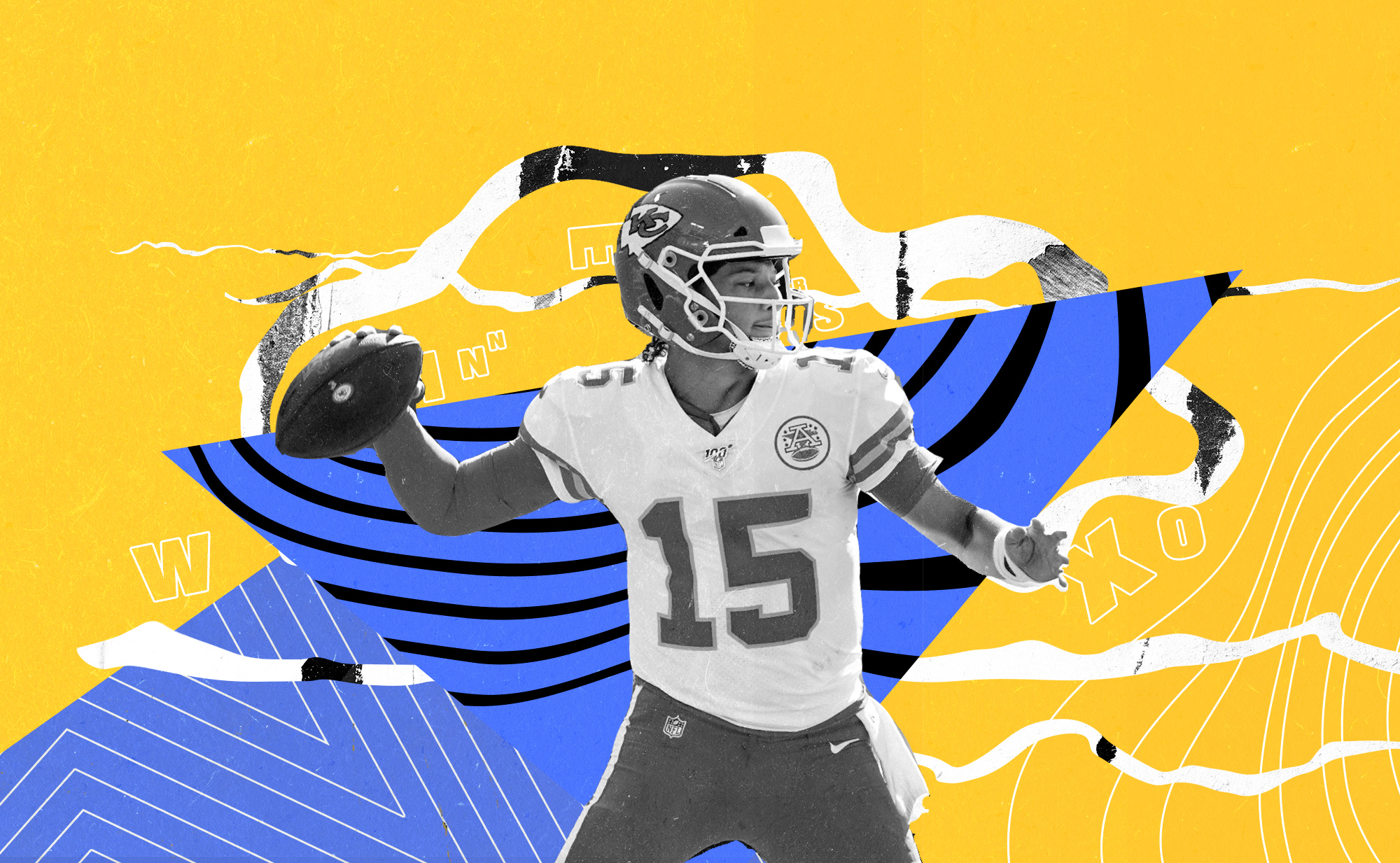 Chiefs QB Patrick Mahomes getting ready to pass superimposed upon a blue and yellow background.