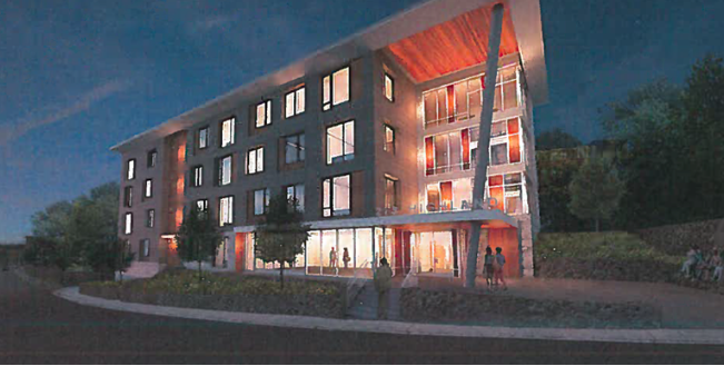 A rendering of a four-story building at night.