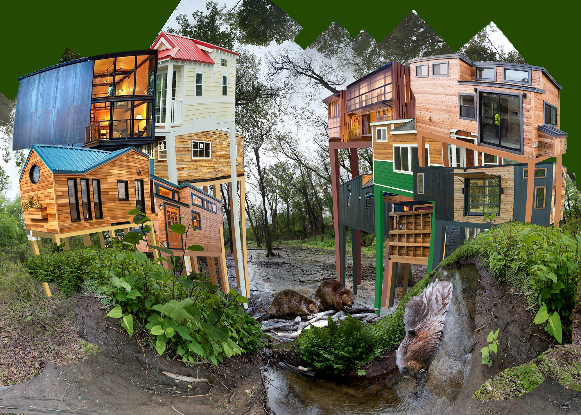 A collaged image with several houses and tress around it.