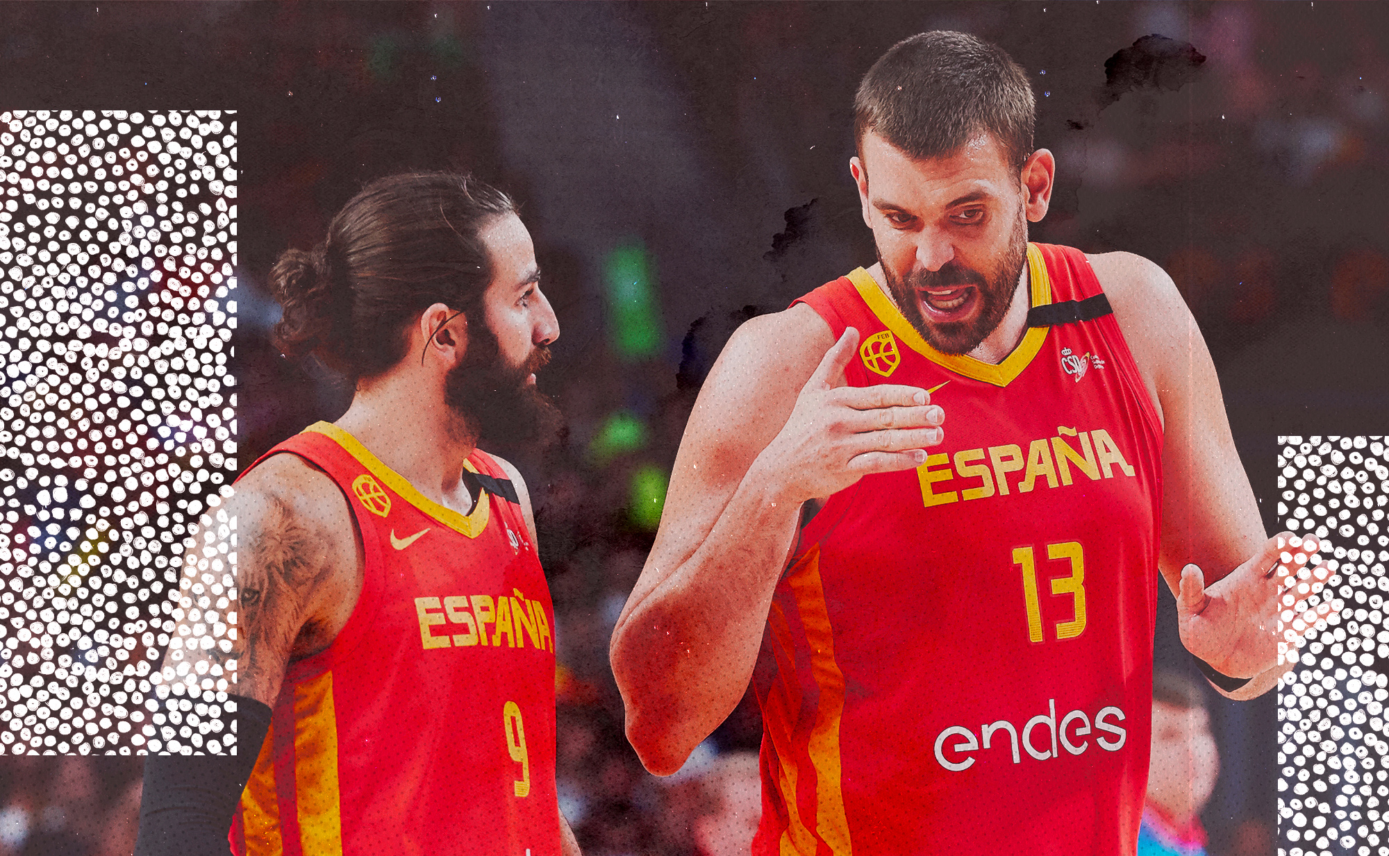 Spain's Ricky Rubio and Marc Gasol talk during FIBA championship game.