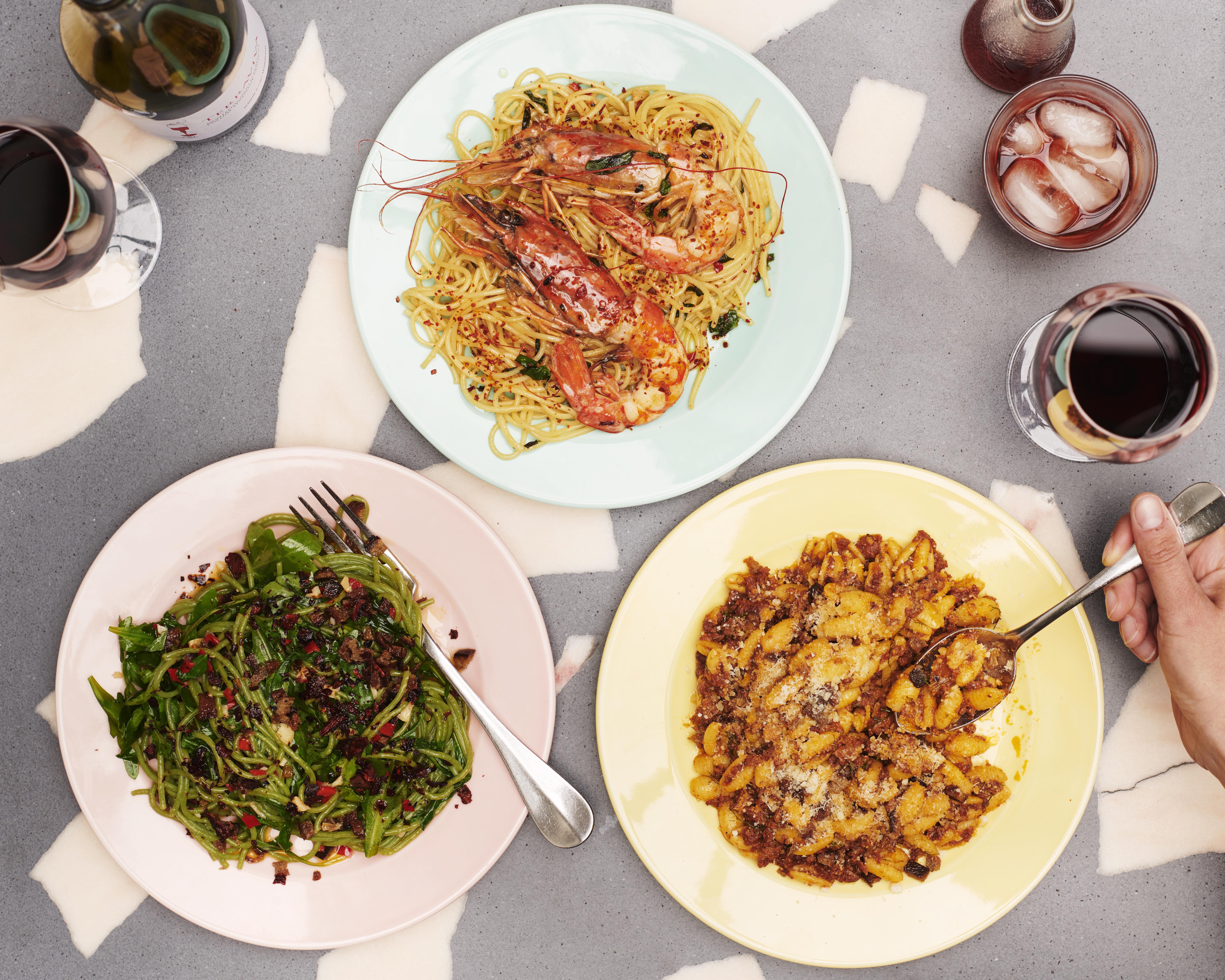 Spinach pasta, crucsco chilli, agretti, and breadcrumbs; red prawns, chilli, tomato spaghetti; slow-cooked sausage sauce, malloreddus pasta dishes at Pastaio in Westfield