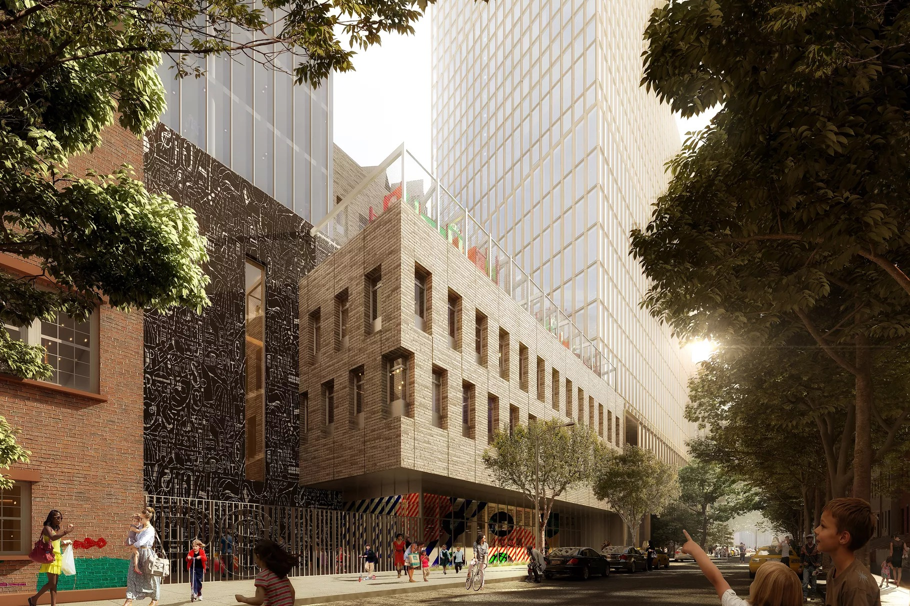 A digital rendering of two boxy, gray brick and glass buildings on Flatbush Avenue.