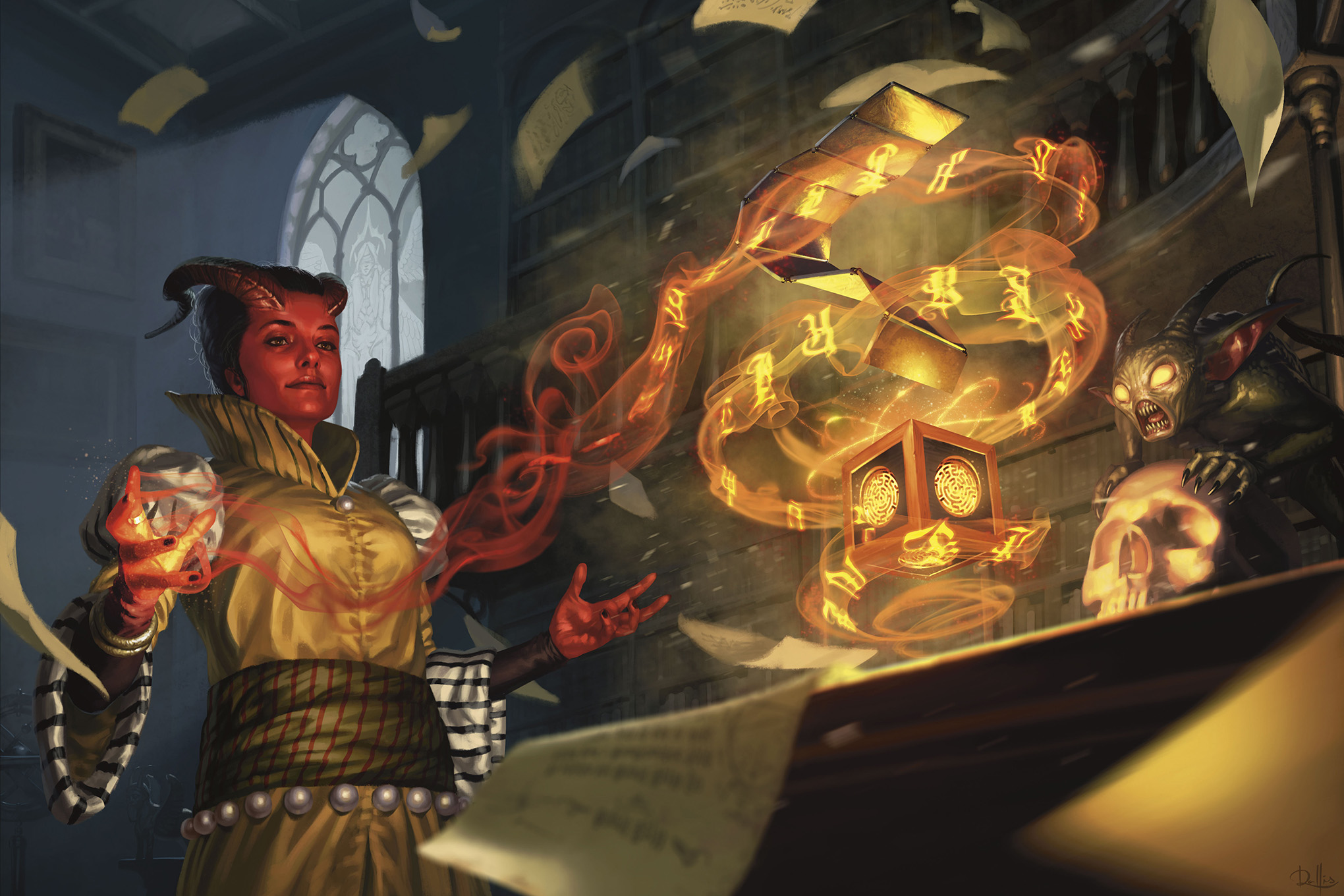 The contents of Thavius Kreeg's mysterious puzzle box are revealed. A tiefling casts a spell on the small, gilded item while a demon looks on. From Wizards of the Coast's Baldur's Gate: Descent Into Avernus.