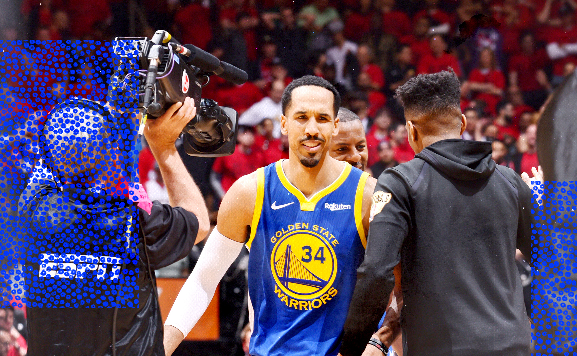 Shaun Livingston is introduced during the NBA playoffs.