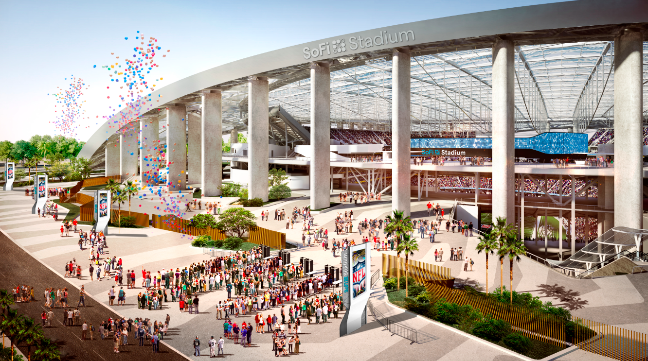 "A rendering of the entry to the stadium. The words ""SoFI Stadium"" are visible on an arch over the entrance."