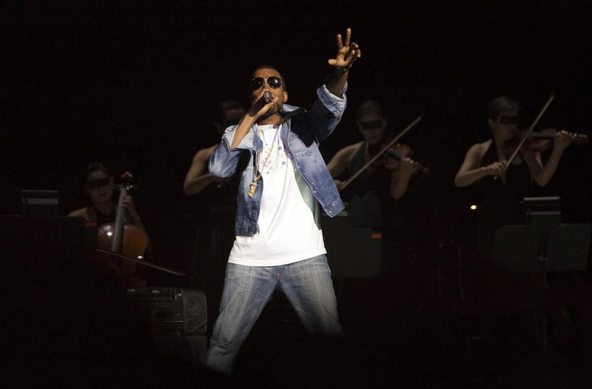 Kanye West performs at the Delta Center in Salt Lake City, Utah Saturday Dec. 17, 2005.