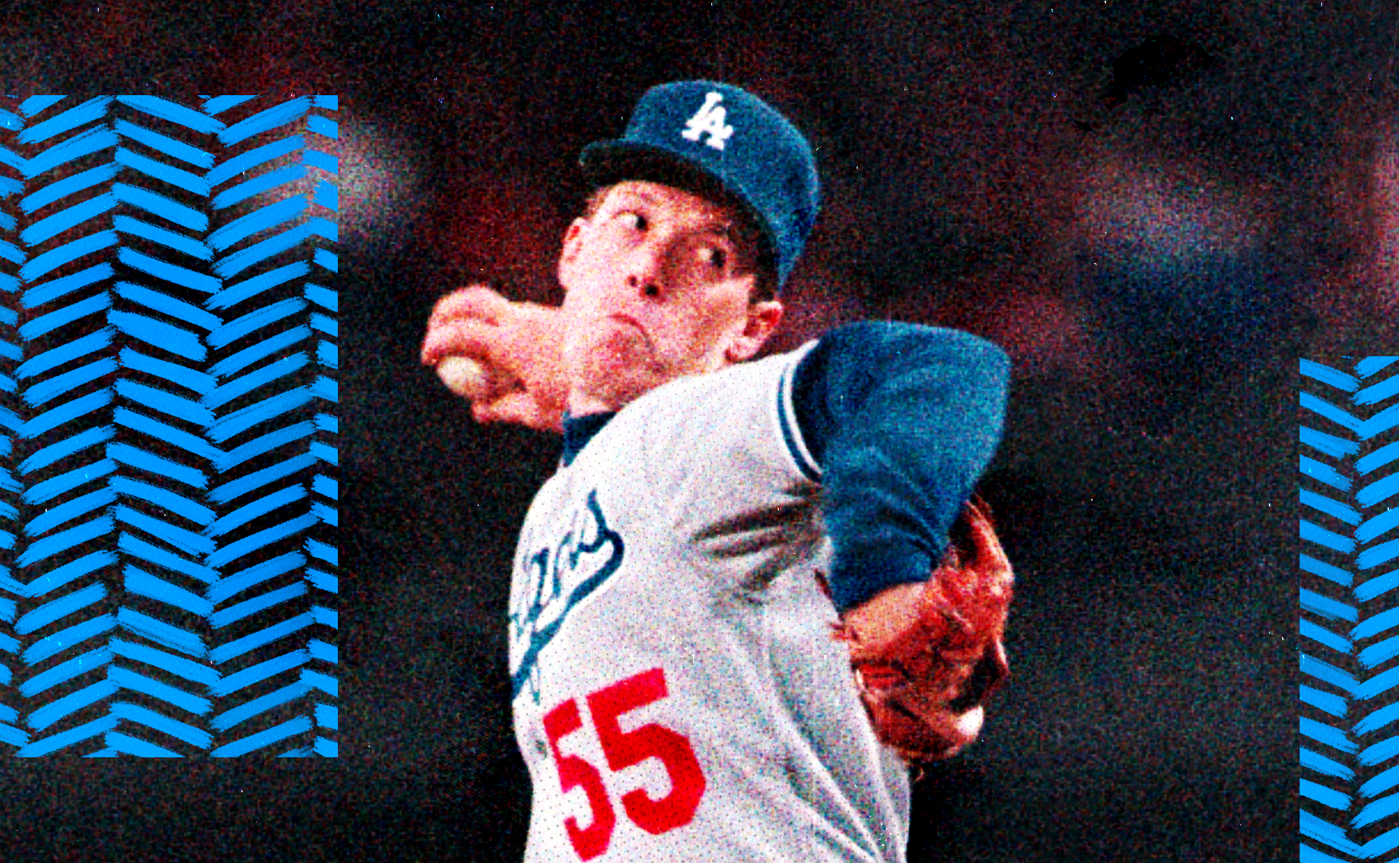 A head-on image of 1980s Dodgers pitcher Orel Hershiser winding up to throw a pitch in an away uniform.