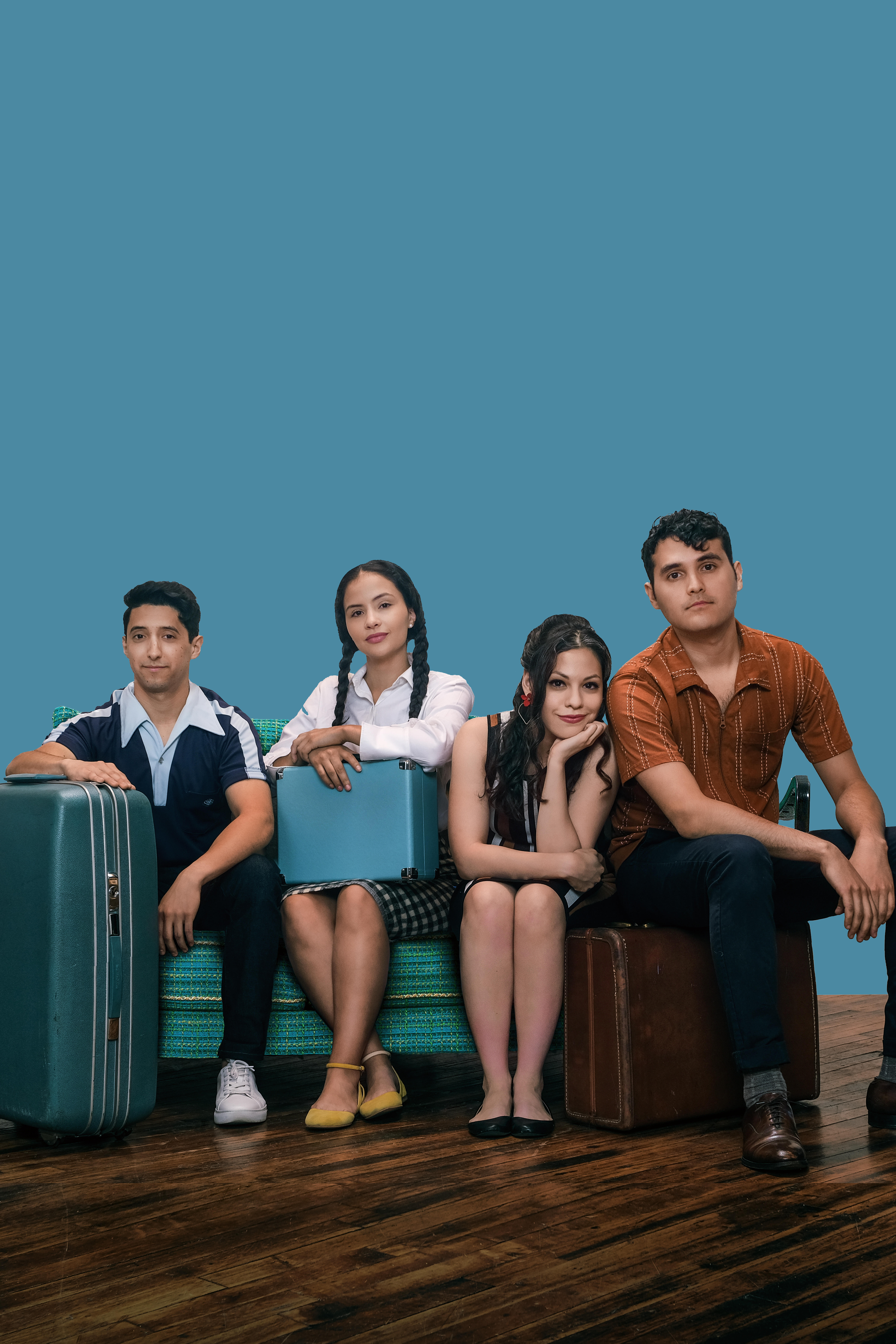 """Meet the Morales siblings — Bobby (Joaquin Rodarte from left), Betty (Janyce Caraballo), Gina (Ayssette Muñoz) and Johnny (Nick Mayes) — members of a Mexican-American family in '60s America in Teatro Vista's Midwest premiere of """"Hope: Part II of A Mexican"""