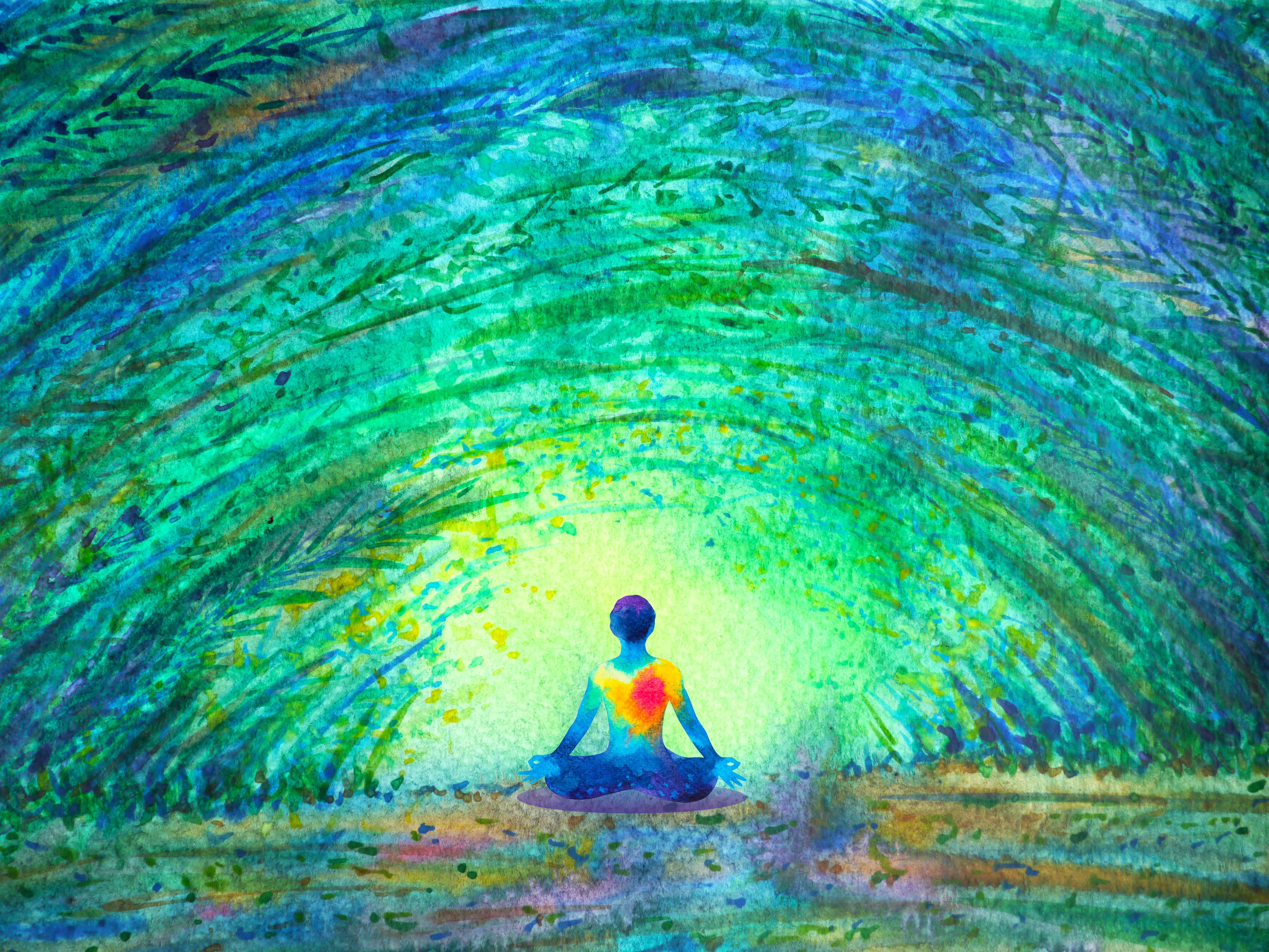 A colorful abstract illustration of a figure sitting down surrounded by bright green and blue light.
