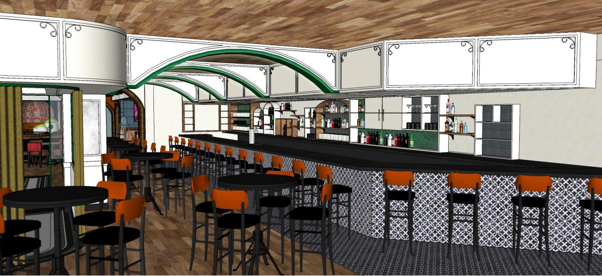 A rendering of Liberté's bar.
