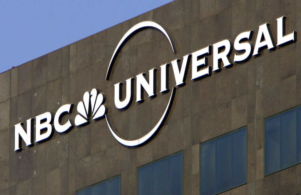 BC Universal logo hangs on a building in Los Angeles. Comcast's NBCUniversal