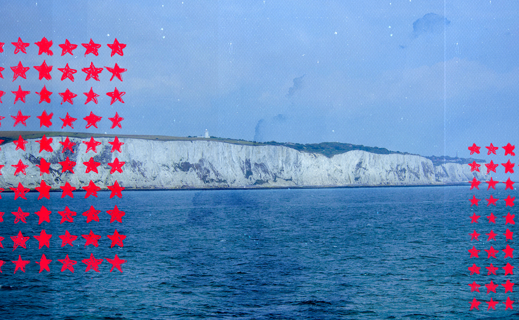 The white cliffs of Dover, on the English side of the Channel