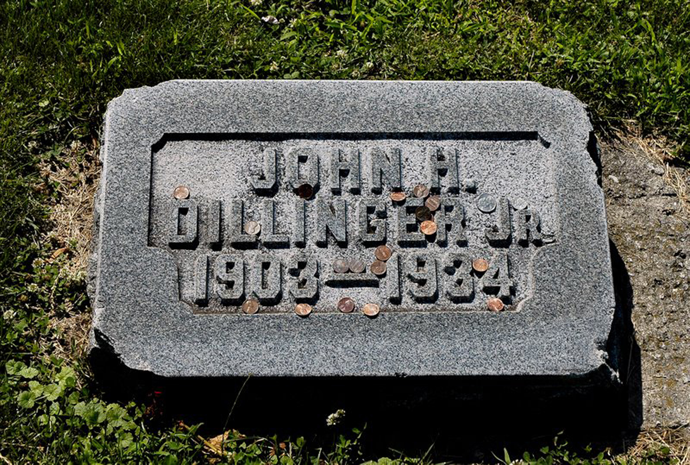 John Dillinger's gravestone at Crown Hill Cemetery in Indianapolis.