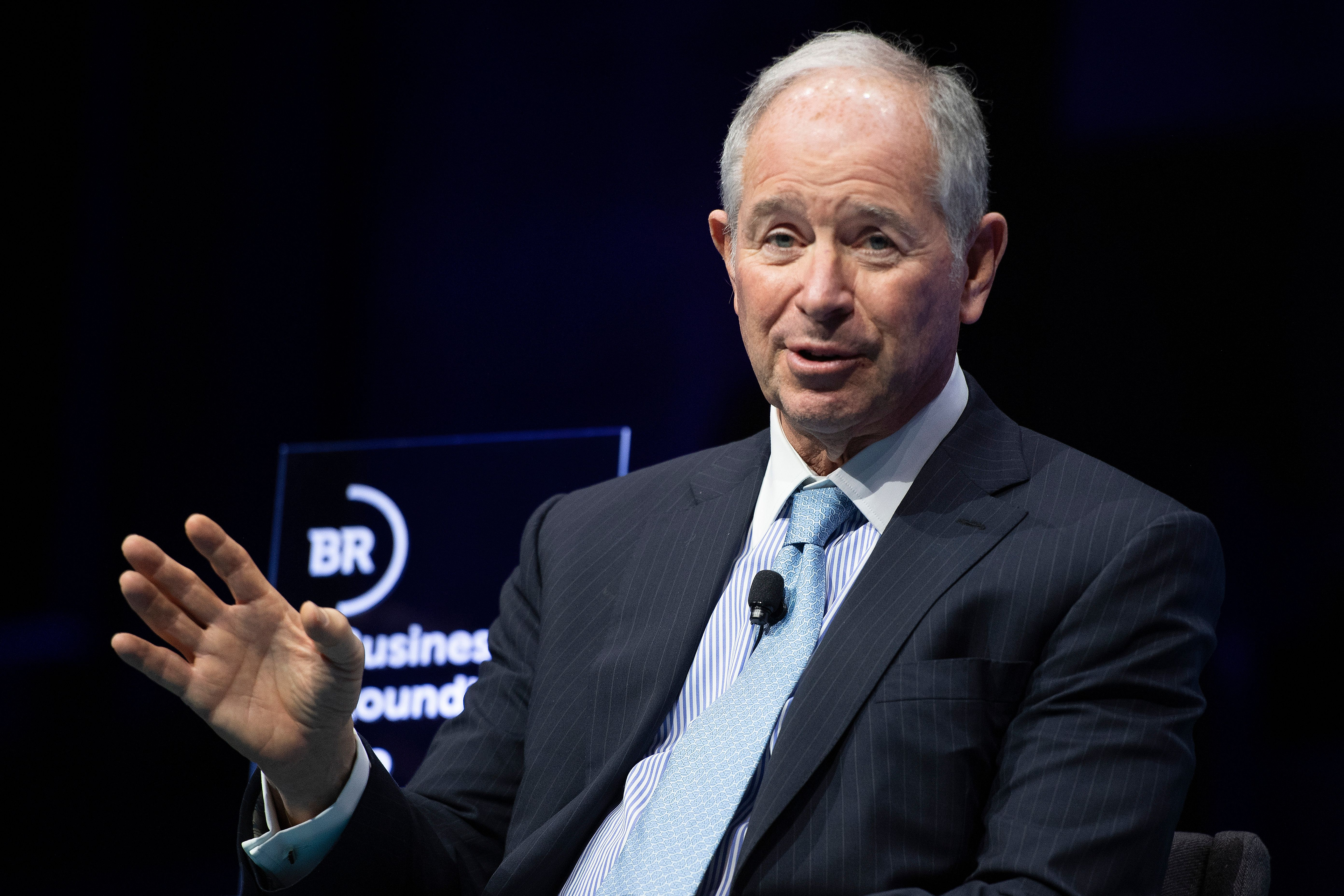 Blackstone CEO Steve Schwarzman speaking onstage.
