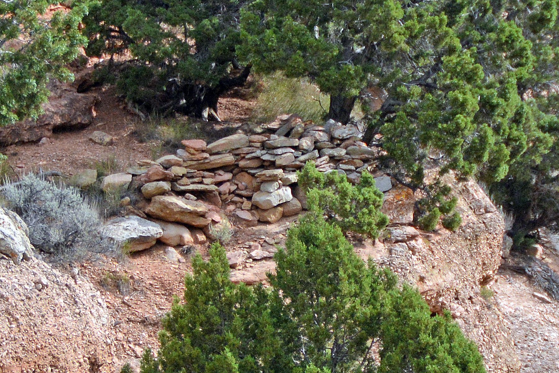 Remnant of breastworks in Echo Canyon. This may have been initially prepared during the Utah War period.