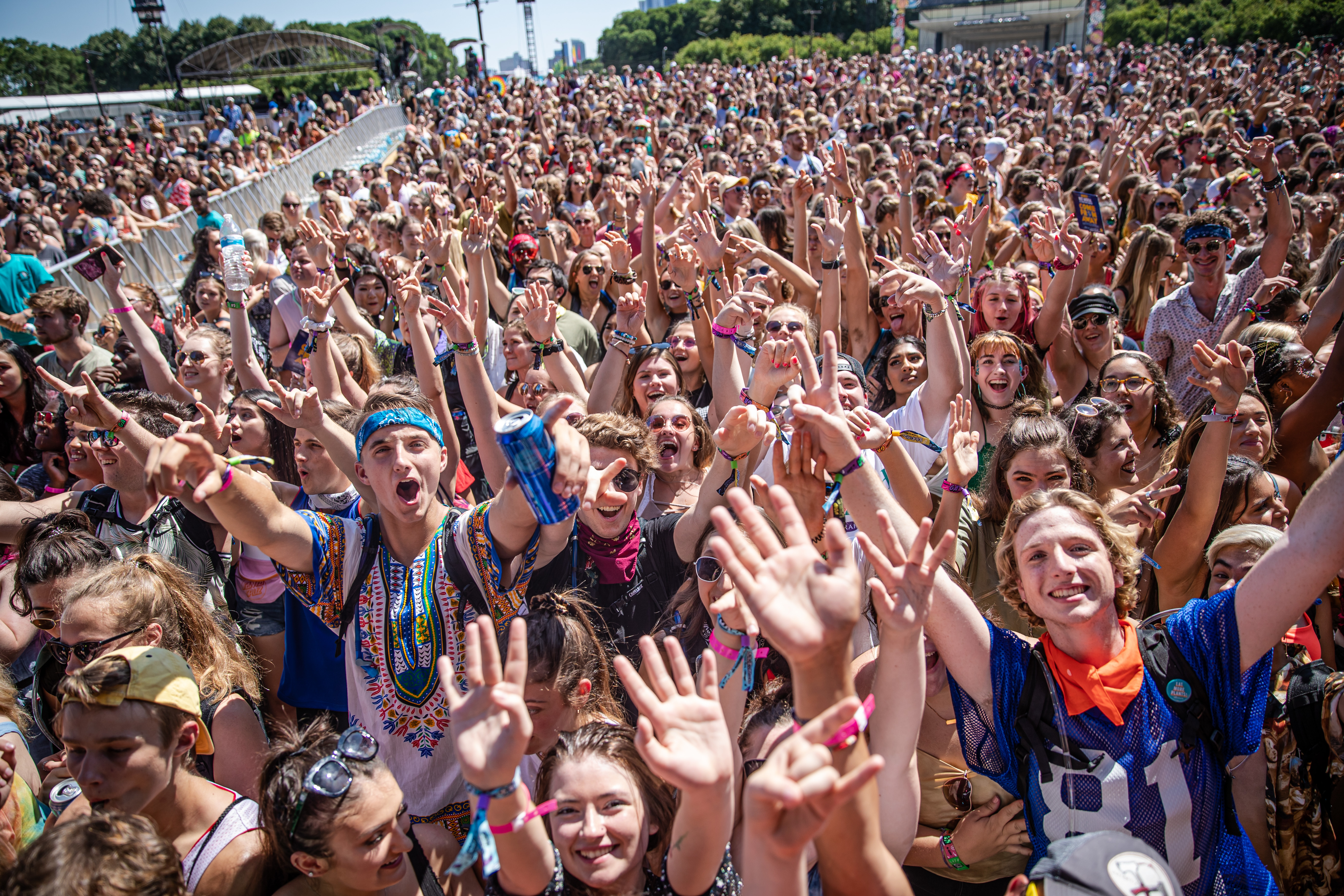Fans enjoy Day 1 of Lollapalooza in Chicago's Grant Park.