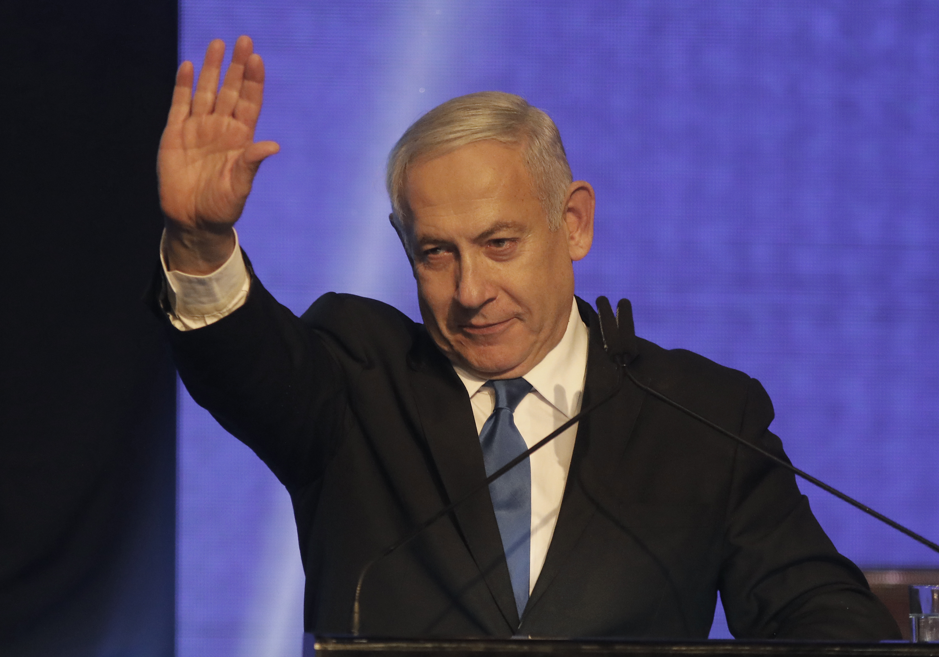 Netanyahu speaking on election night.