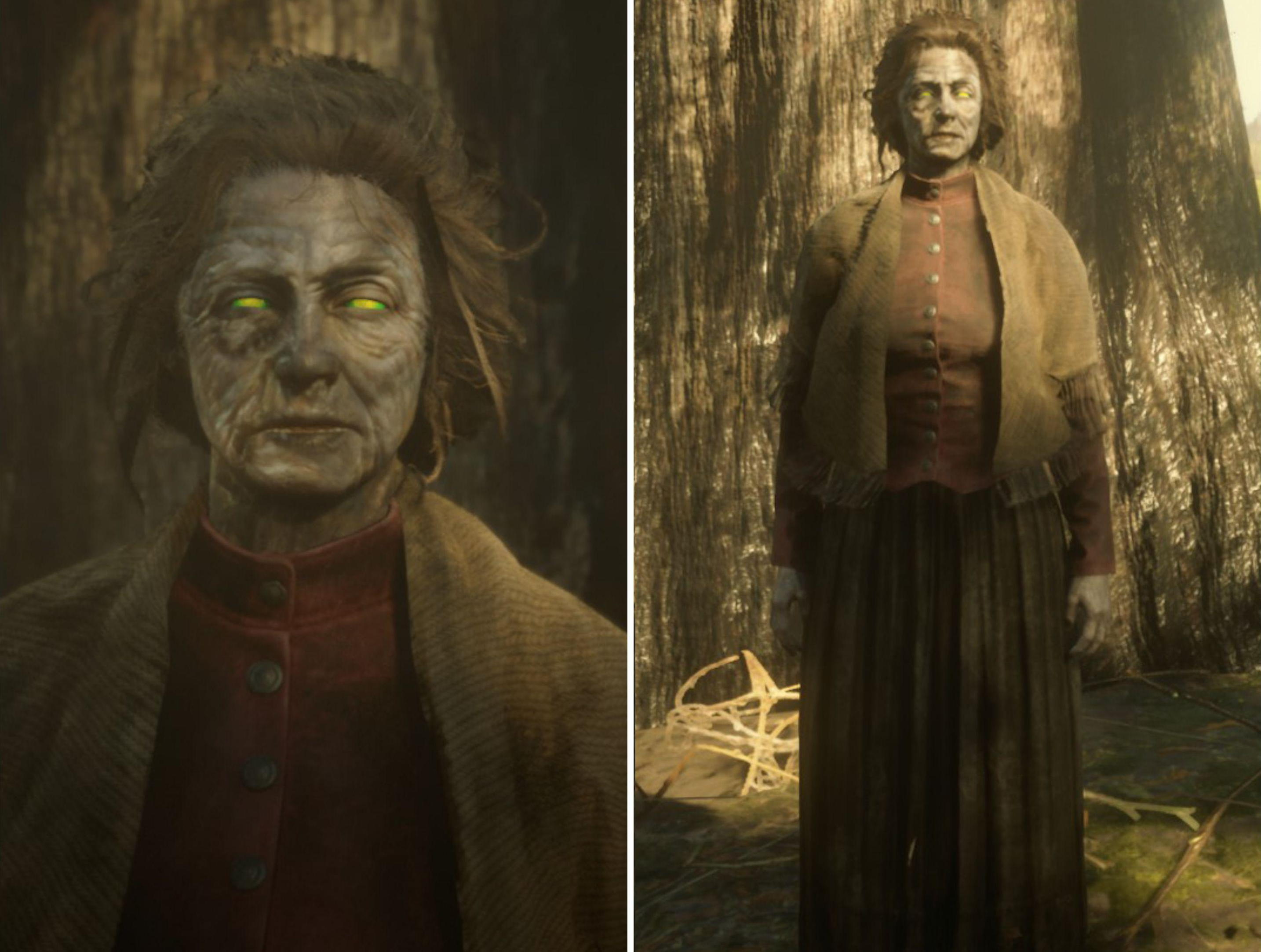 Two images of a woman with decayed features and zombie-like eyes from Red Dead Redemption