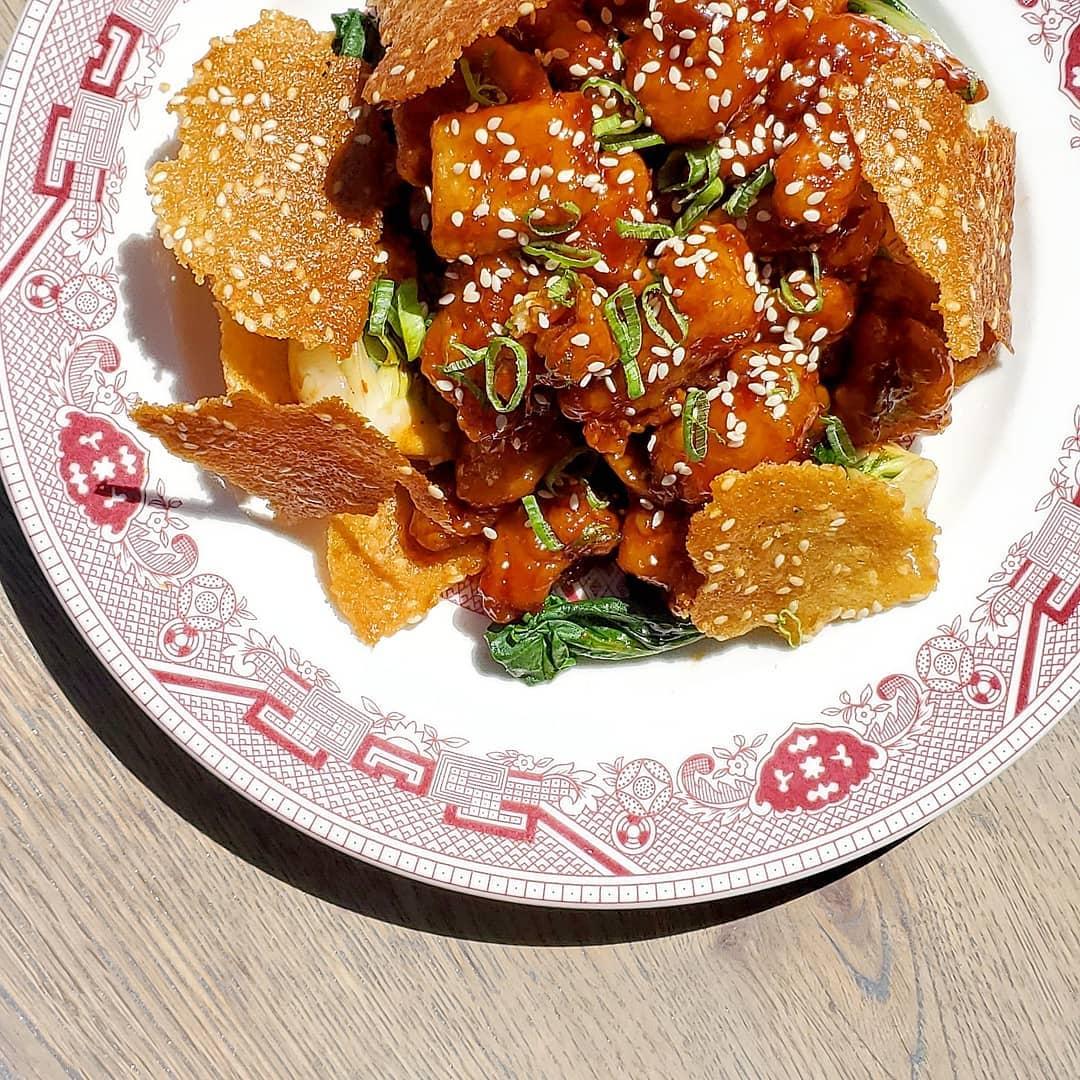 A sesame chicken dish