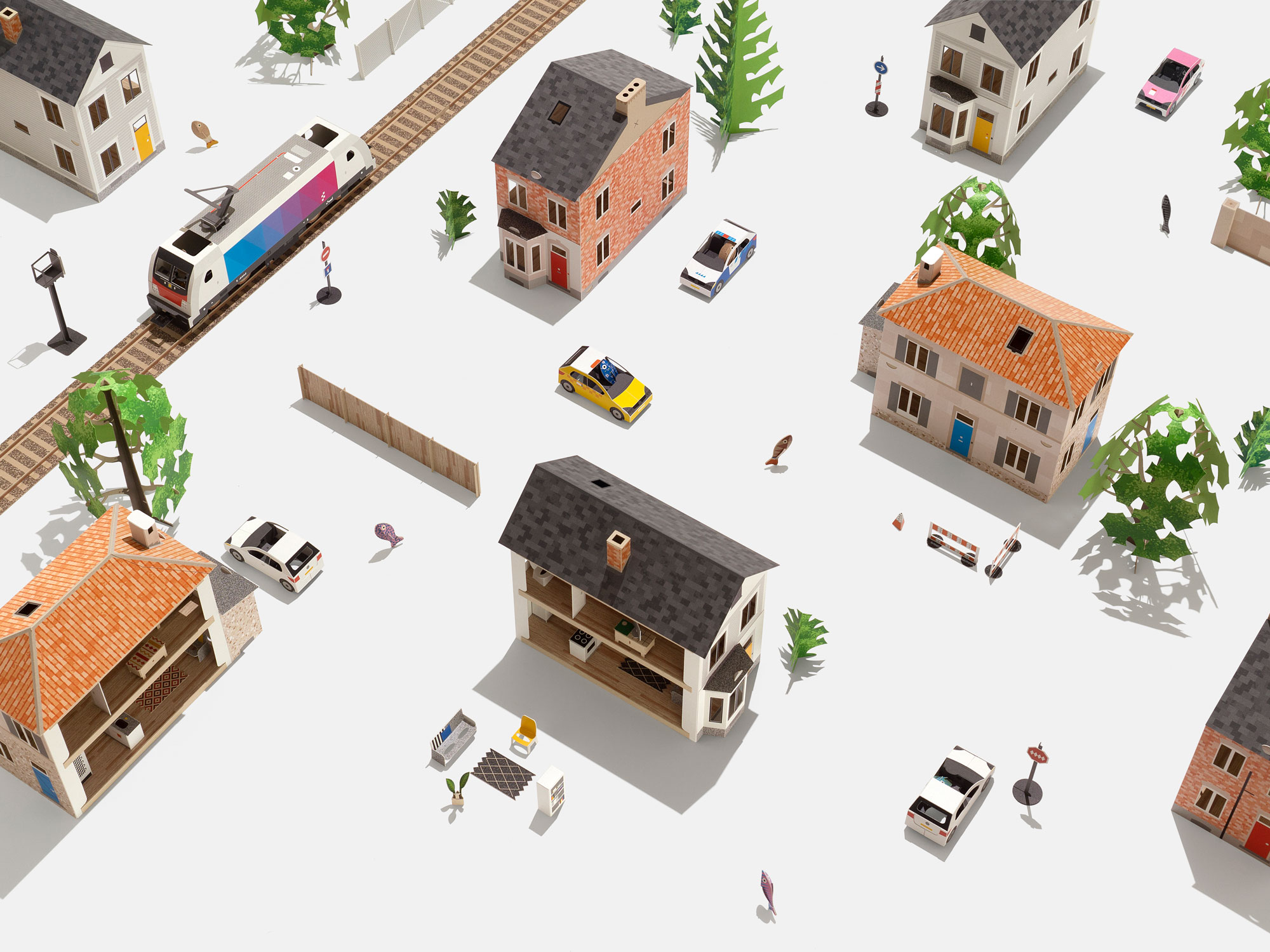 Build your own miniature city with these adorable paper kits