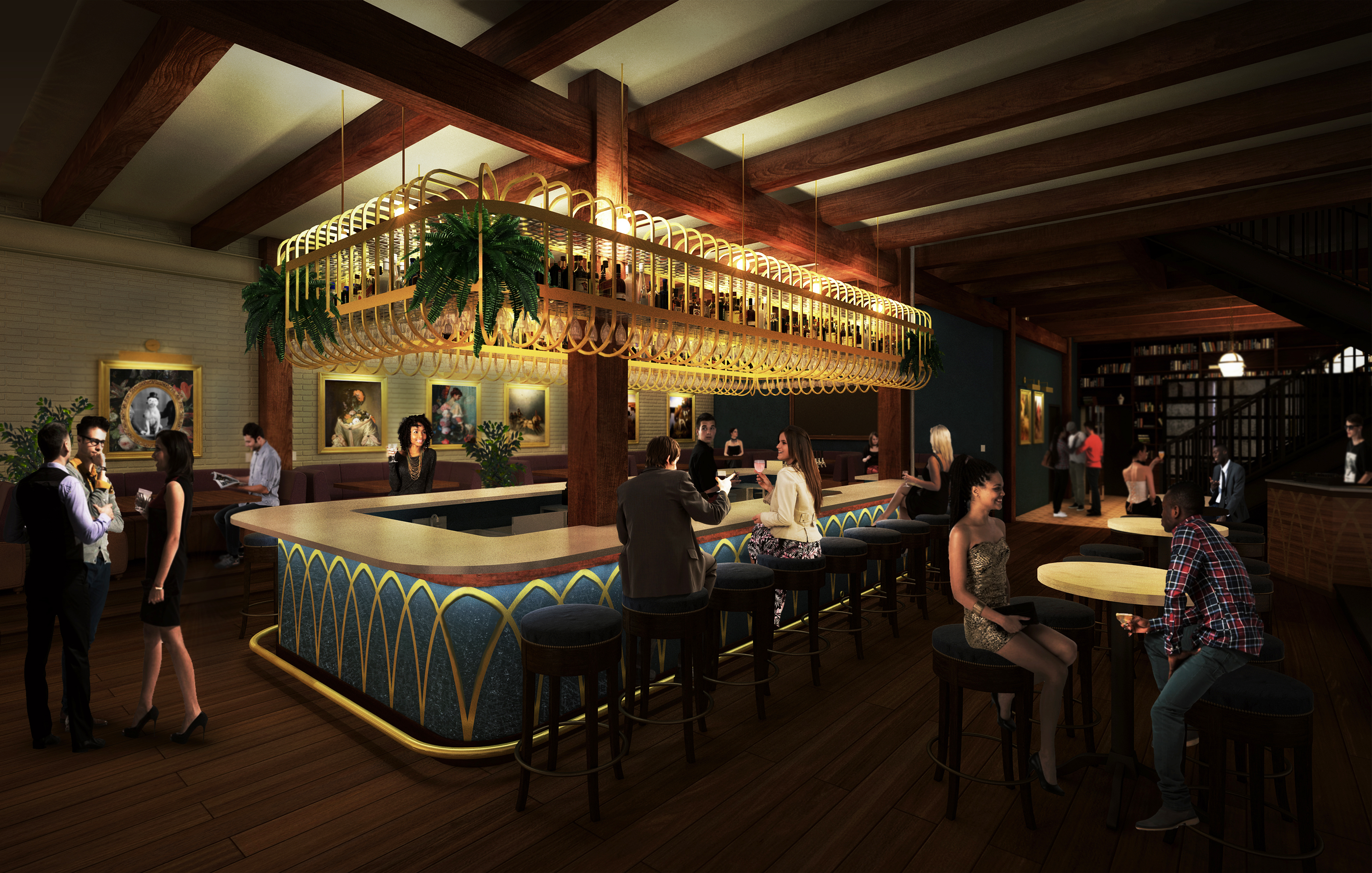 A rendering of an center island bar at an upcoming Chicago bar.