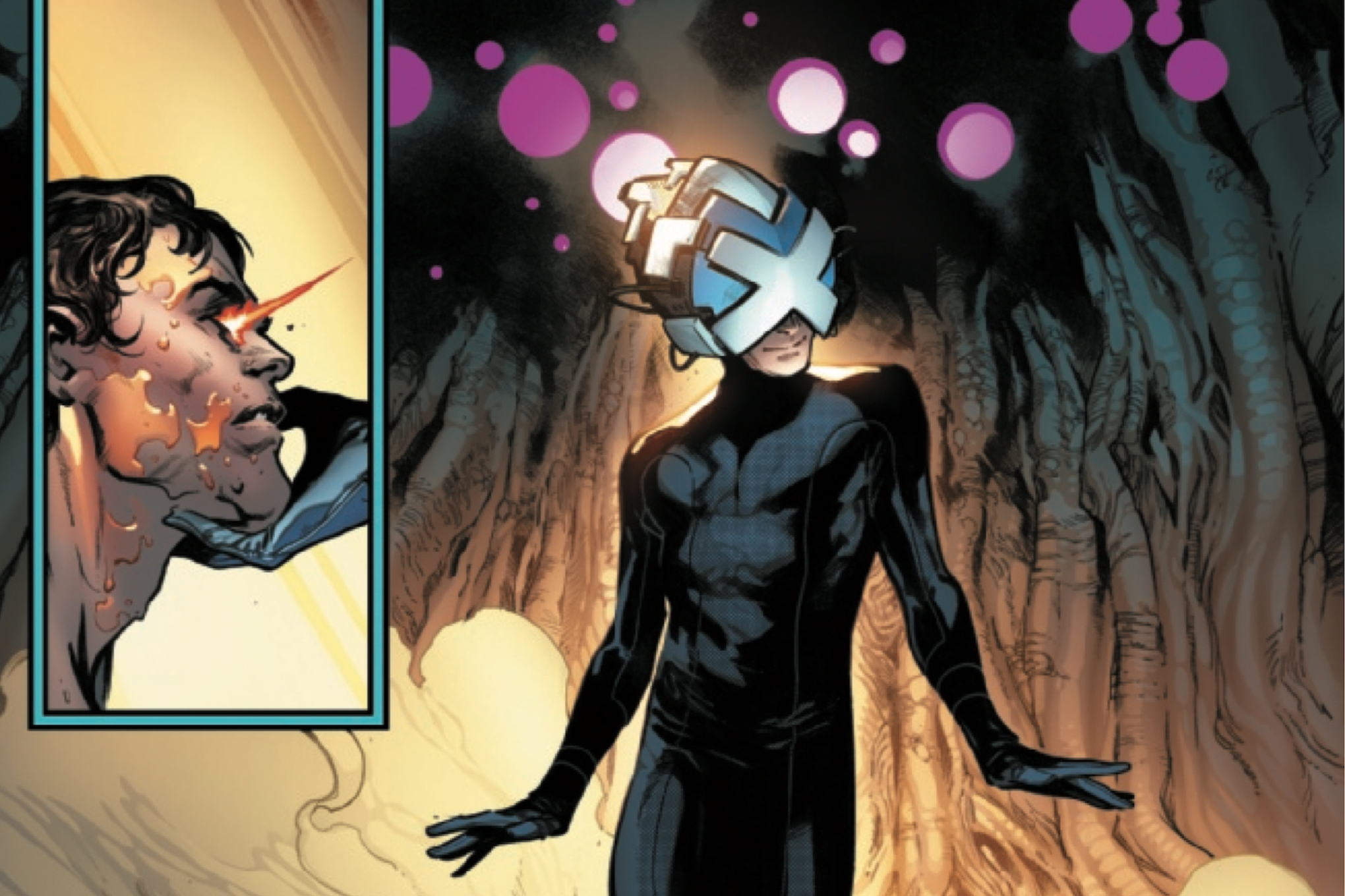 Charles Xavier and Cyclops (left) in House of X #1, Marvel Comics (2019).