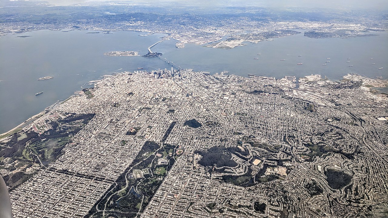 An aerial photo showing almost all of San Francisco from above.