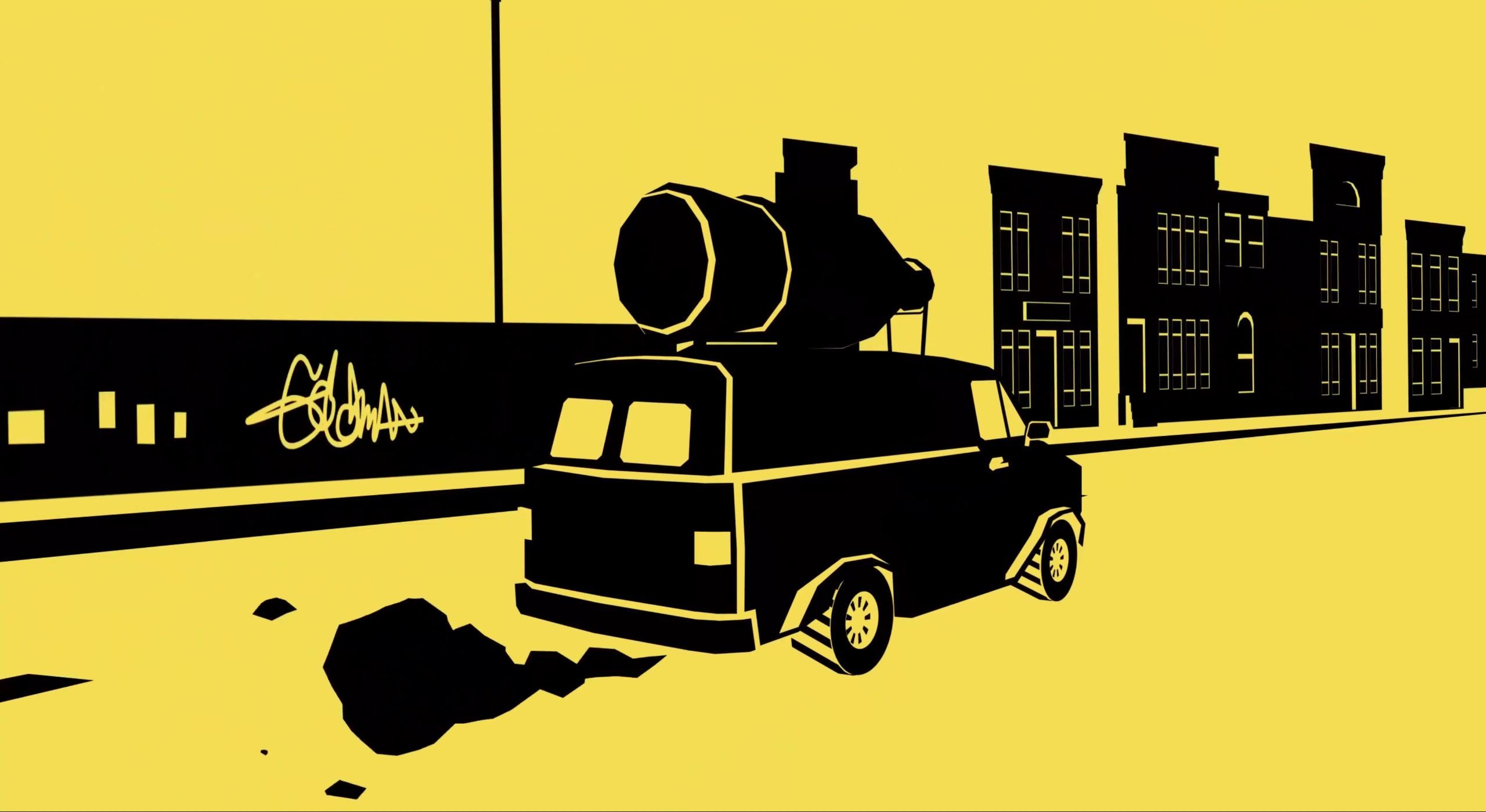 A splash screen for Rebel Cops, which relies heavily on a yellow crime scene tape aesthetic. Defunded and discraced, the rebel cops ride around in a soda delivery truck.