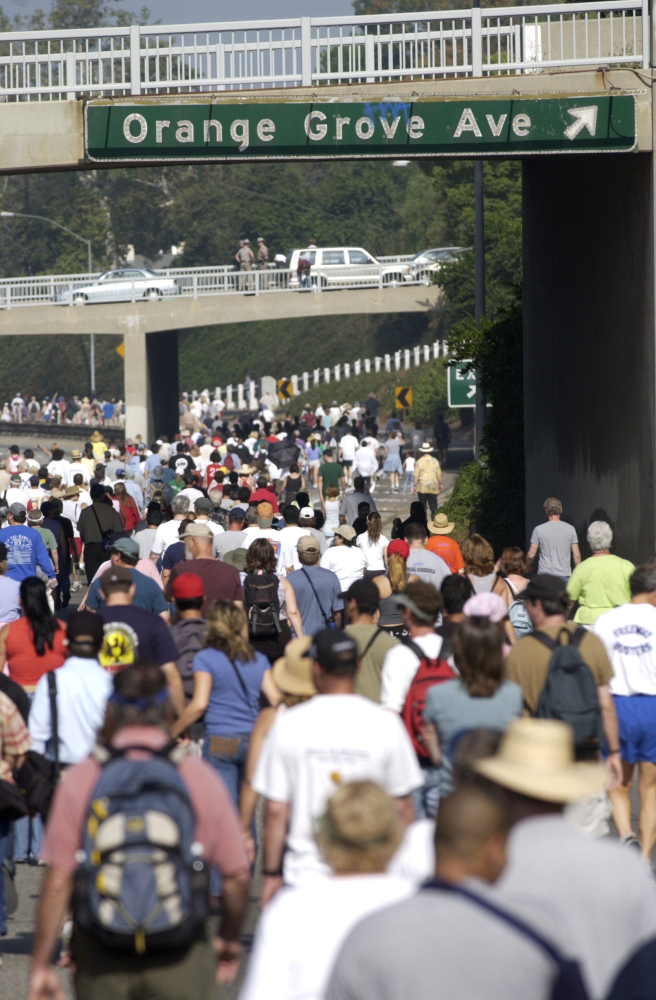 A thick crowd of people walking on a freeway.