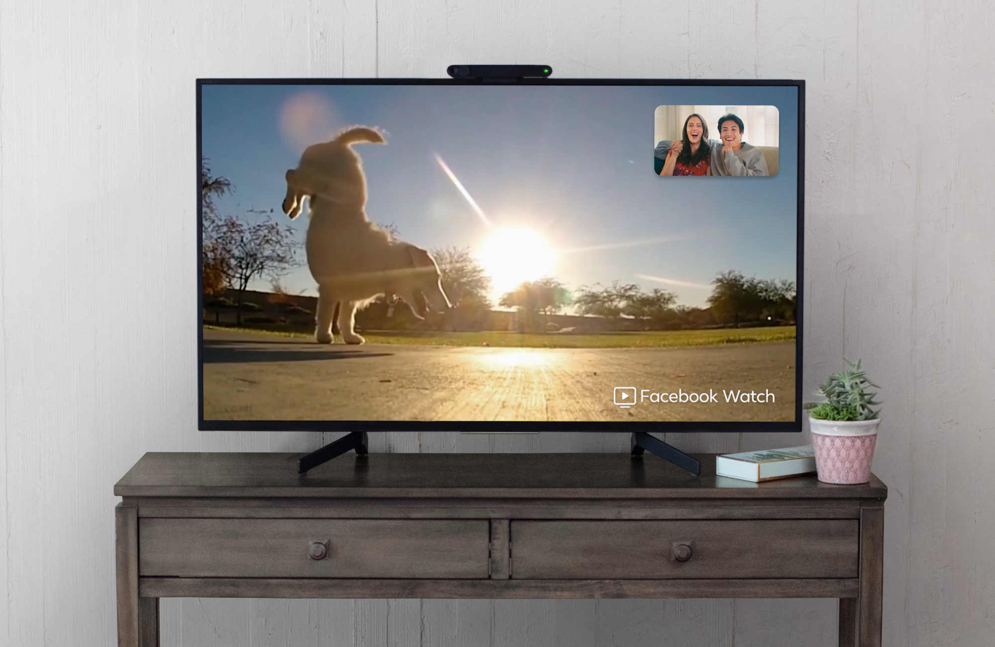 A flat-screen TV running Facebook's Portal device shows a picture of a dog and and an inset of a couple sitting on a couch.
