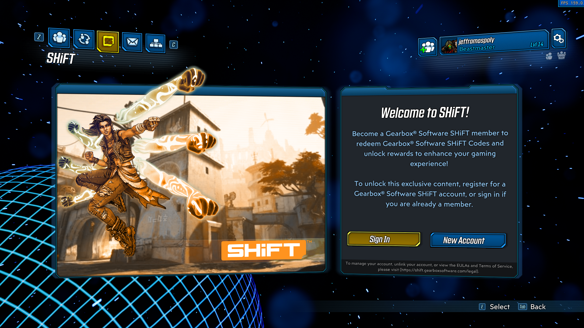Gearbox's Shift member sign up screen in Borderlands 3