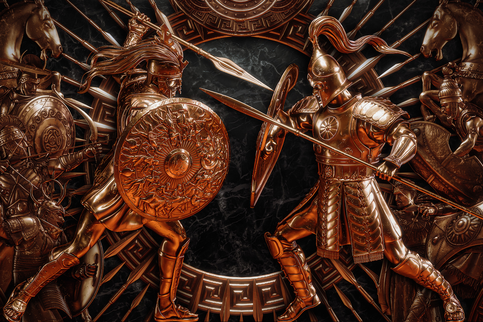 Cast bronze Greek warriors face each other down on an ornate black background in key art for A Total War Saga: Troy.