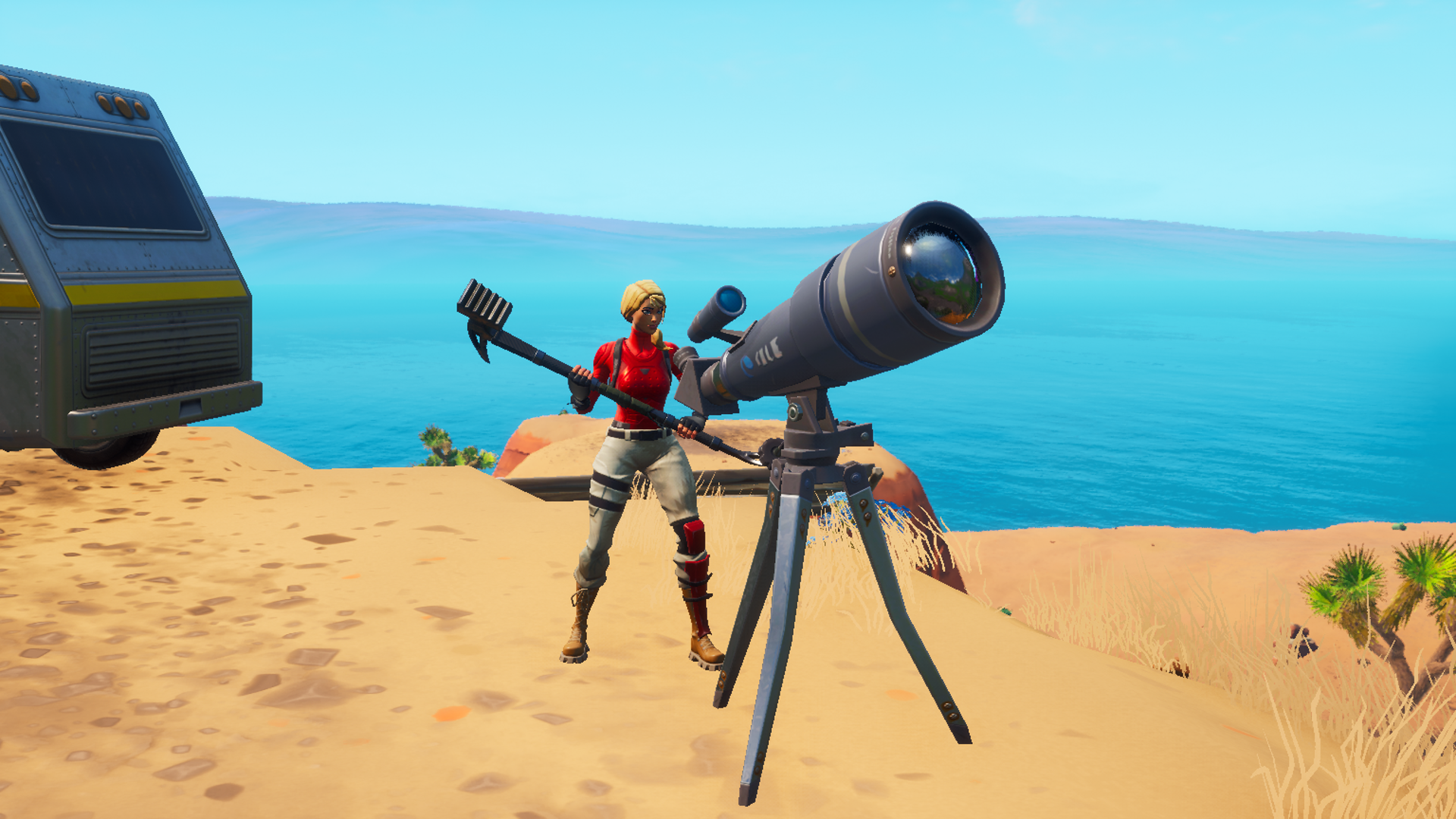 A Fortnite player stands behind a telescope in the middle of the desert