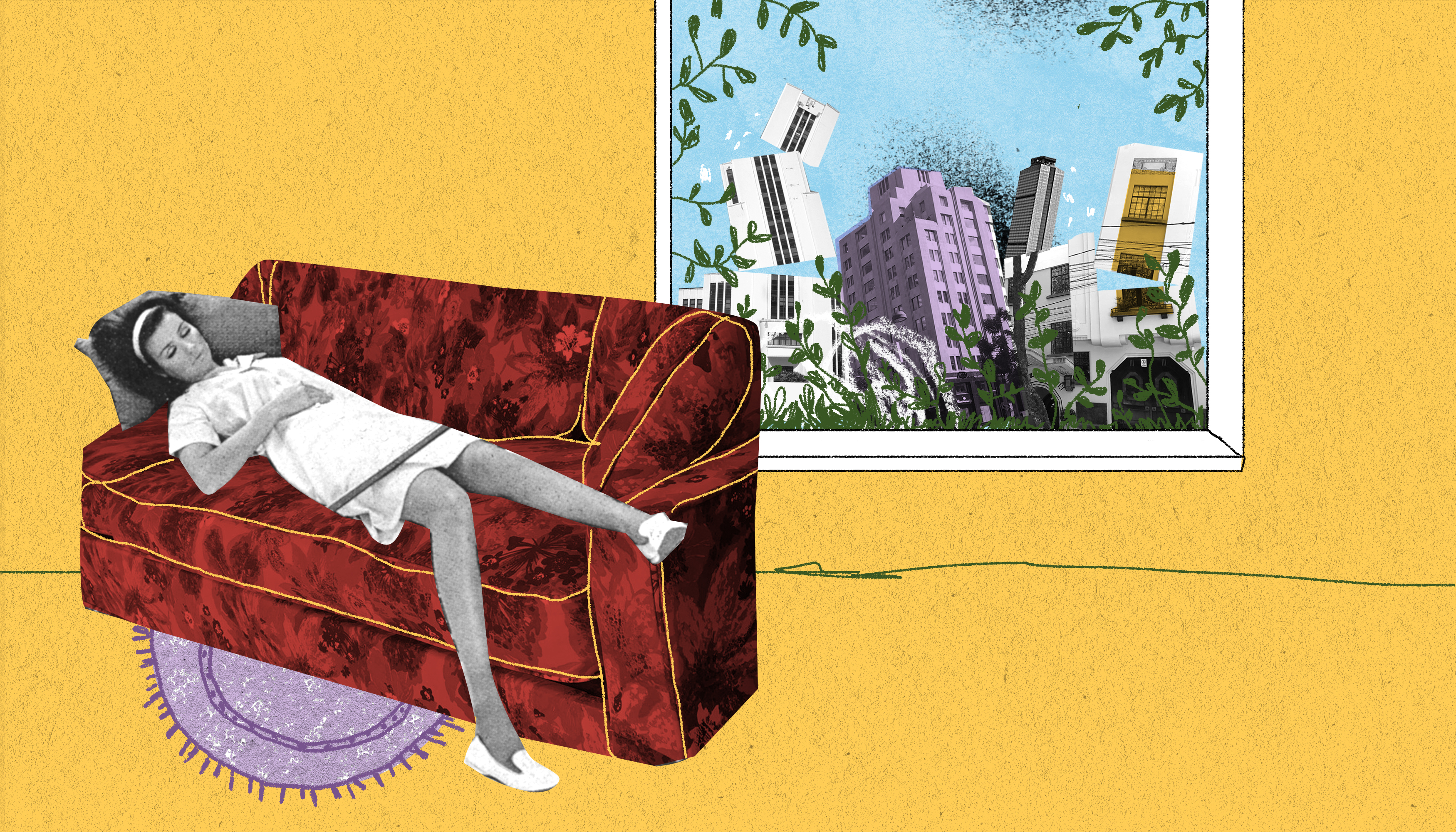 A woman lies on a couch while buildings collapse outside her window. Illustration