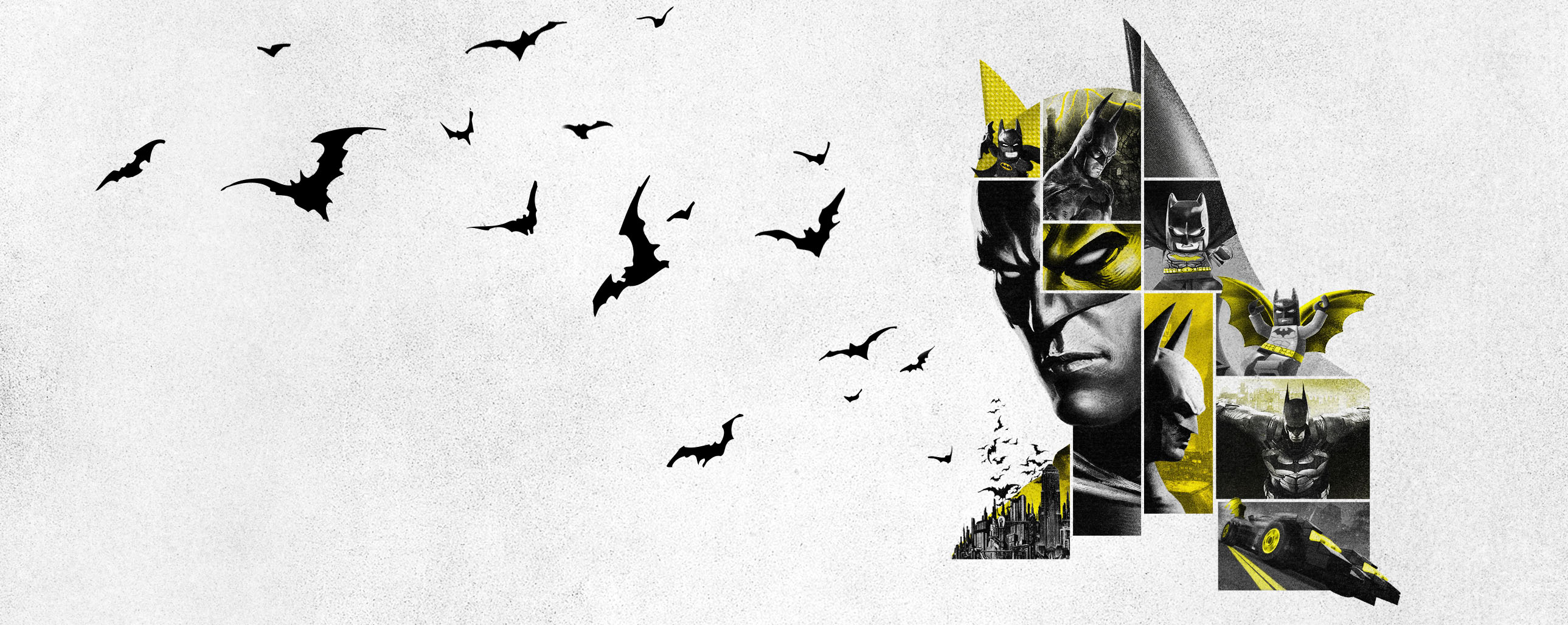 A mosaic of Batman on a white background with flying bats