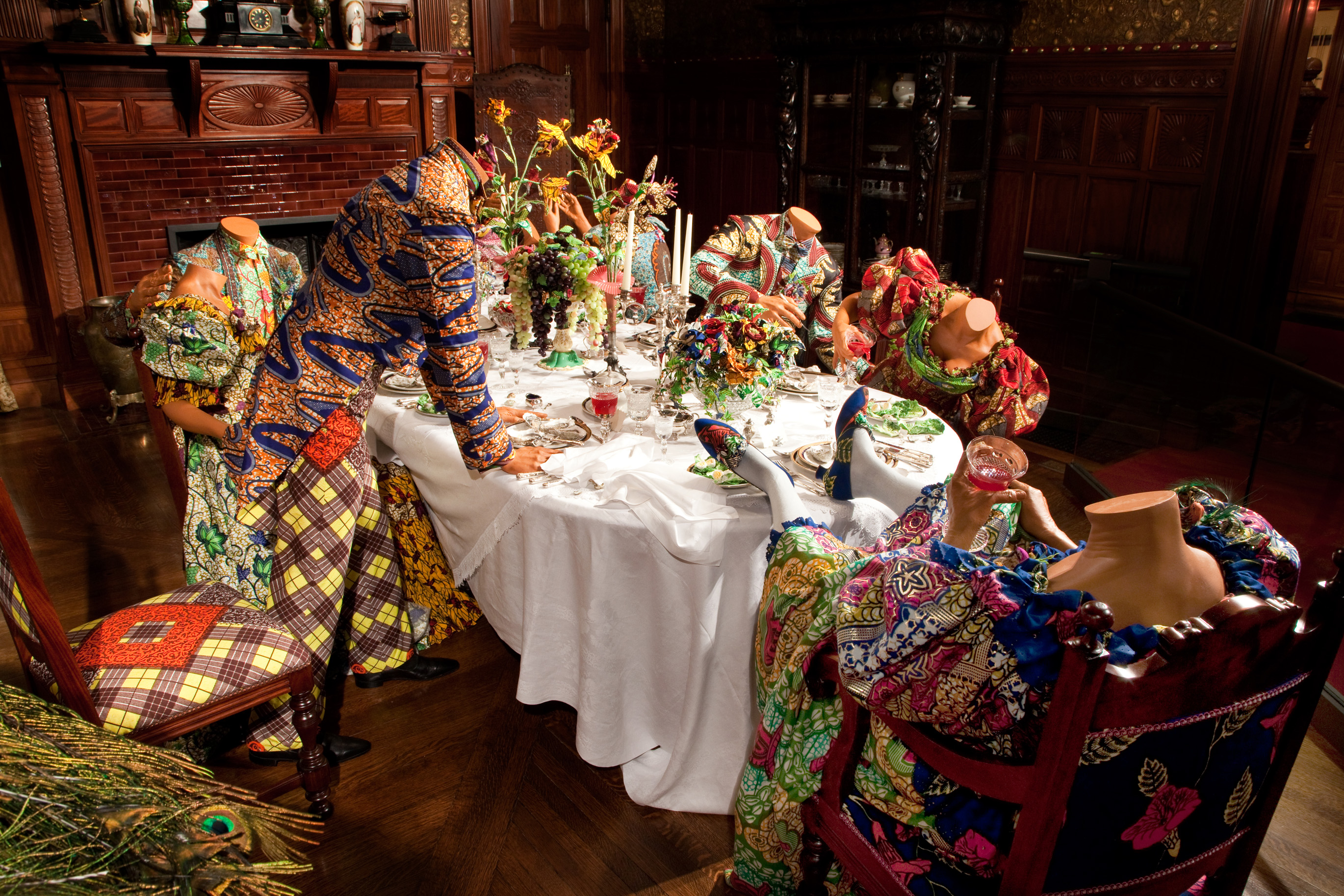 "Yinka Shonibare's ""Party Time,"" part of an exhibit of the artist's work at the Driehaus Museum in Chicago."