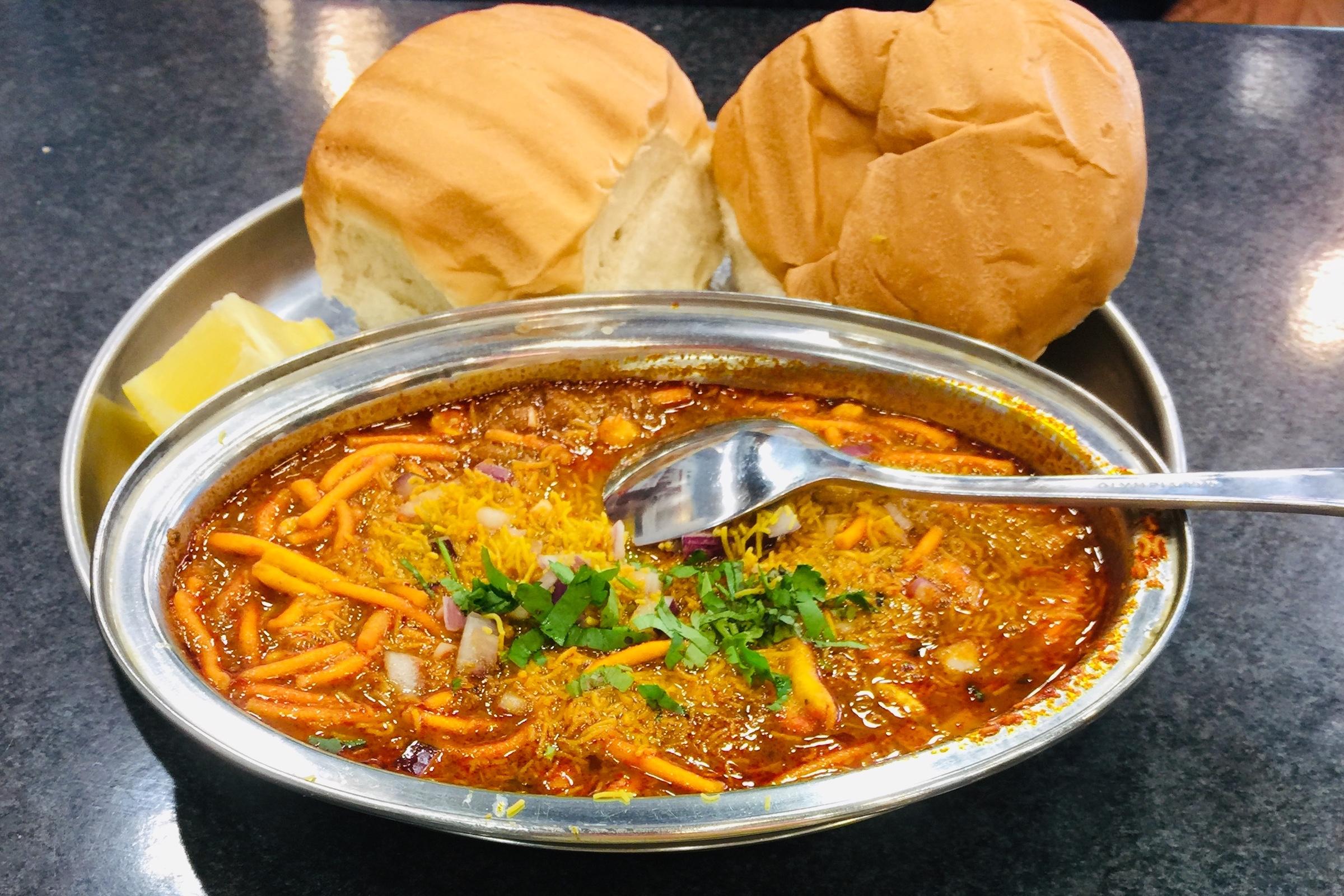 Misal pav at Shree Krishna Vada Pav in Hounslow —one of the best Western Indian restaurants in London
