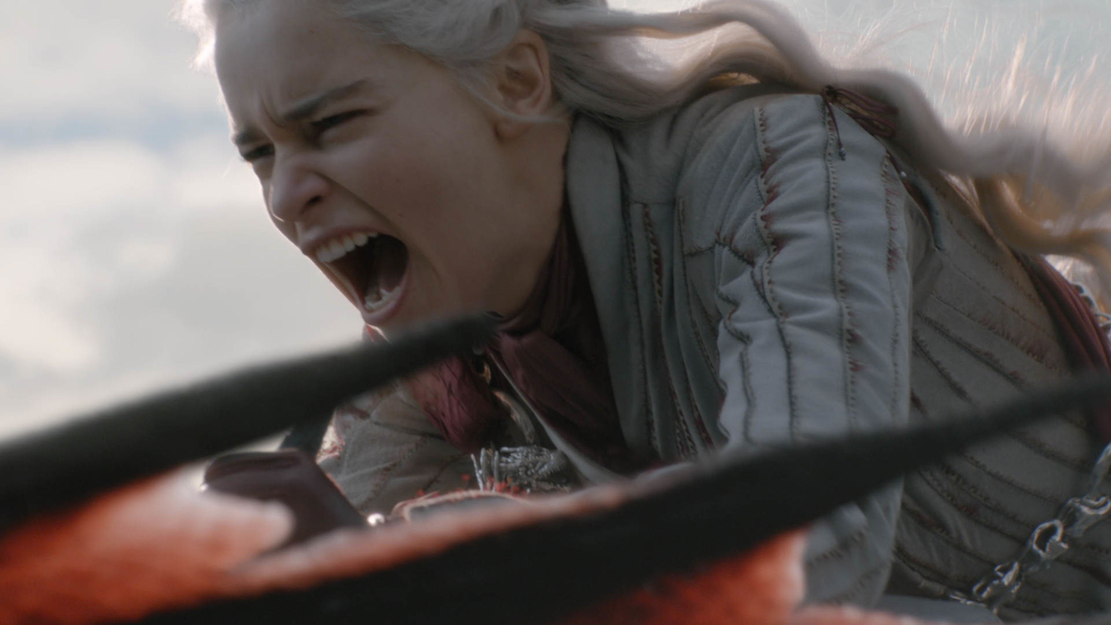 Daenerys charges King's Landing on her dragon on Game of Thrones.