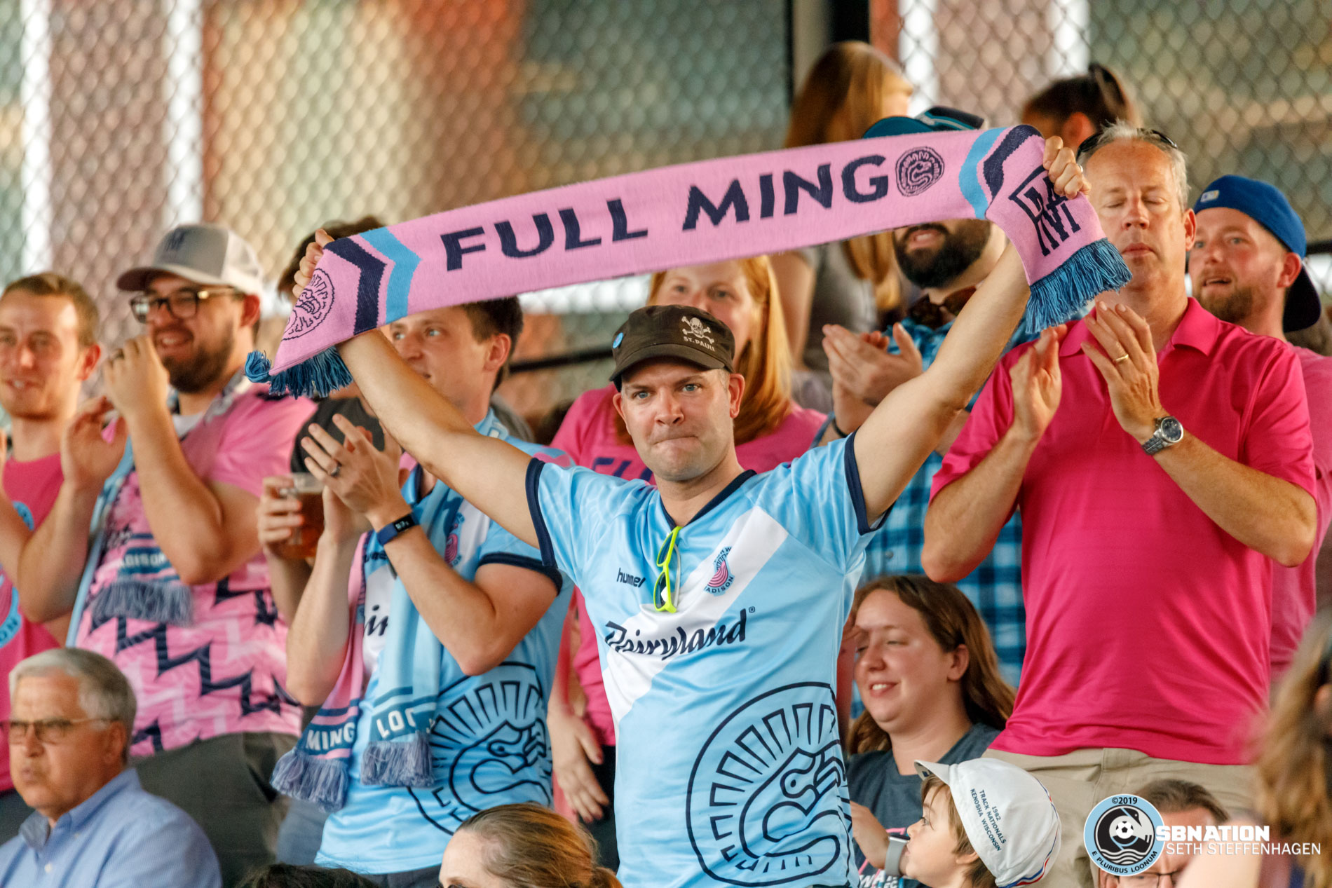 June 25, 2019 - Madison, Wisconsin, United States - Fans celebrate a goal during the Forward Madison FC vs Minnesota United FC friendly match at Breese Stevens Field.