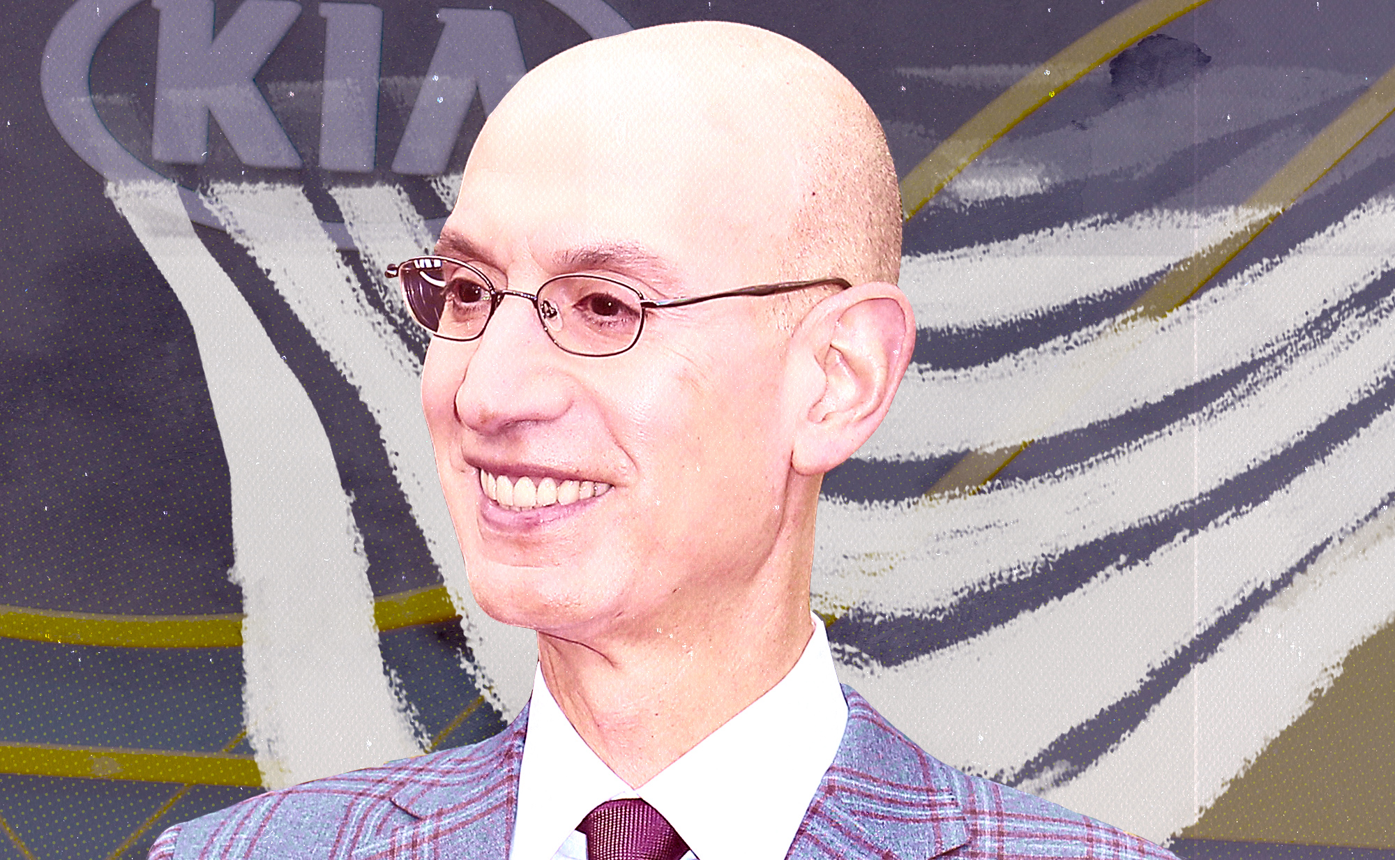 Adam Silver smiles against a superimposed background.