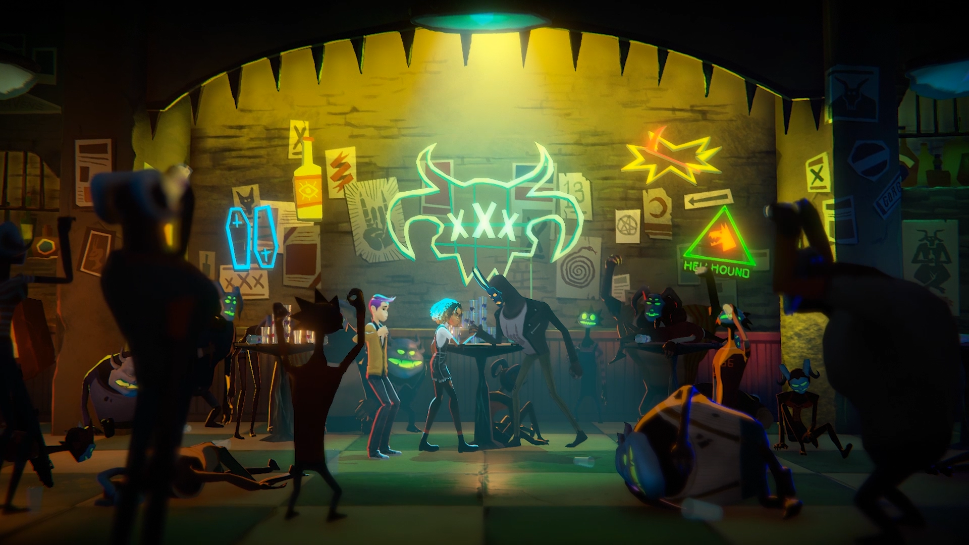 Two characters arm wrestle in a neon-lit bar in a screenshot from Night School Studio's Afterparty