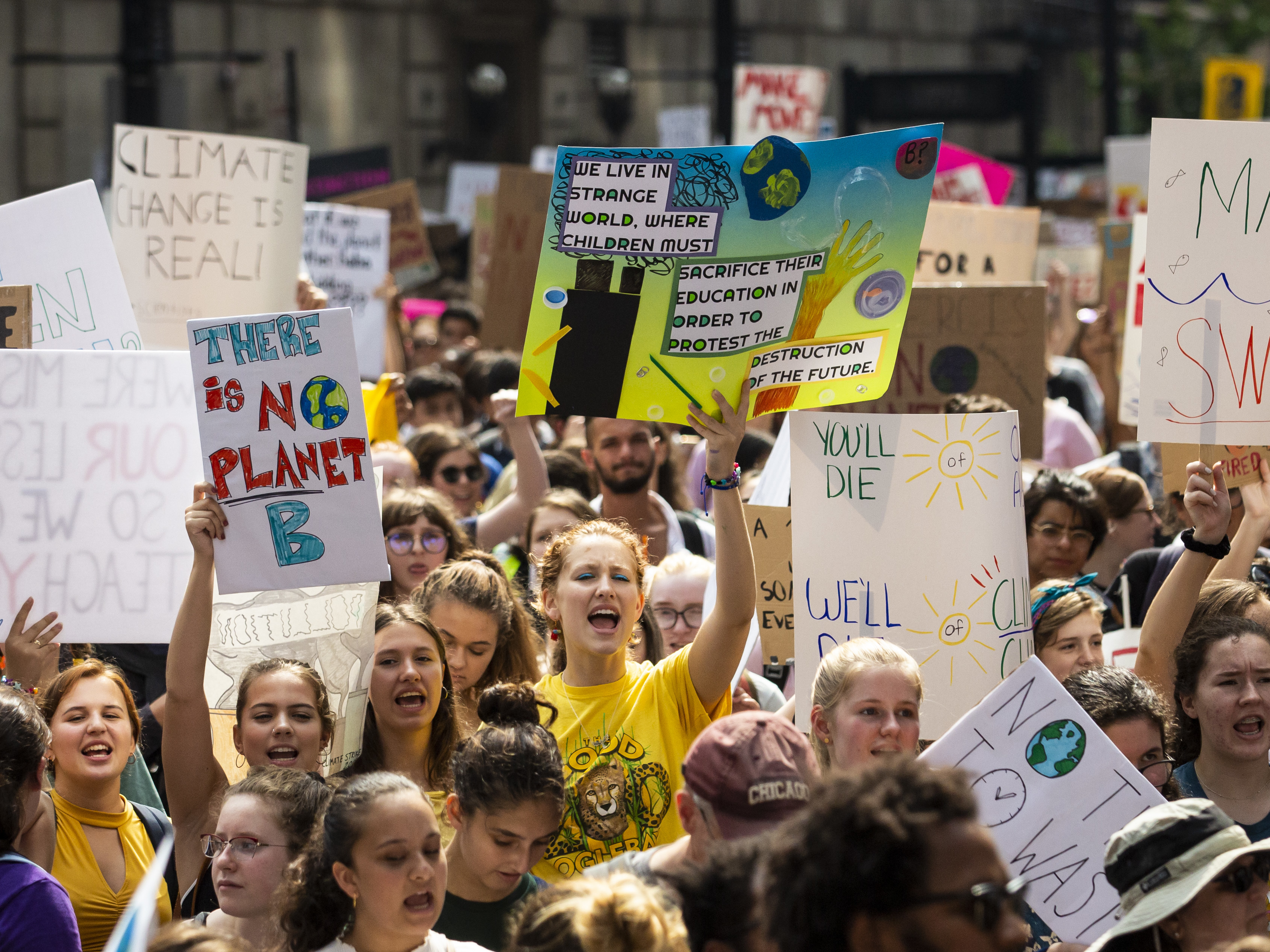 Thousands march from Grant Park to Federal Plaza in Chicago as part of the Chicago Youth Climate Strike, demanding climate action ahead of a UN emergency climate summit, Friday, Sept. 20, 2019.