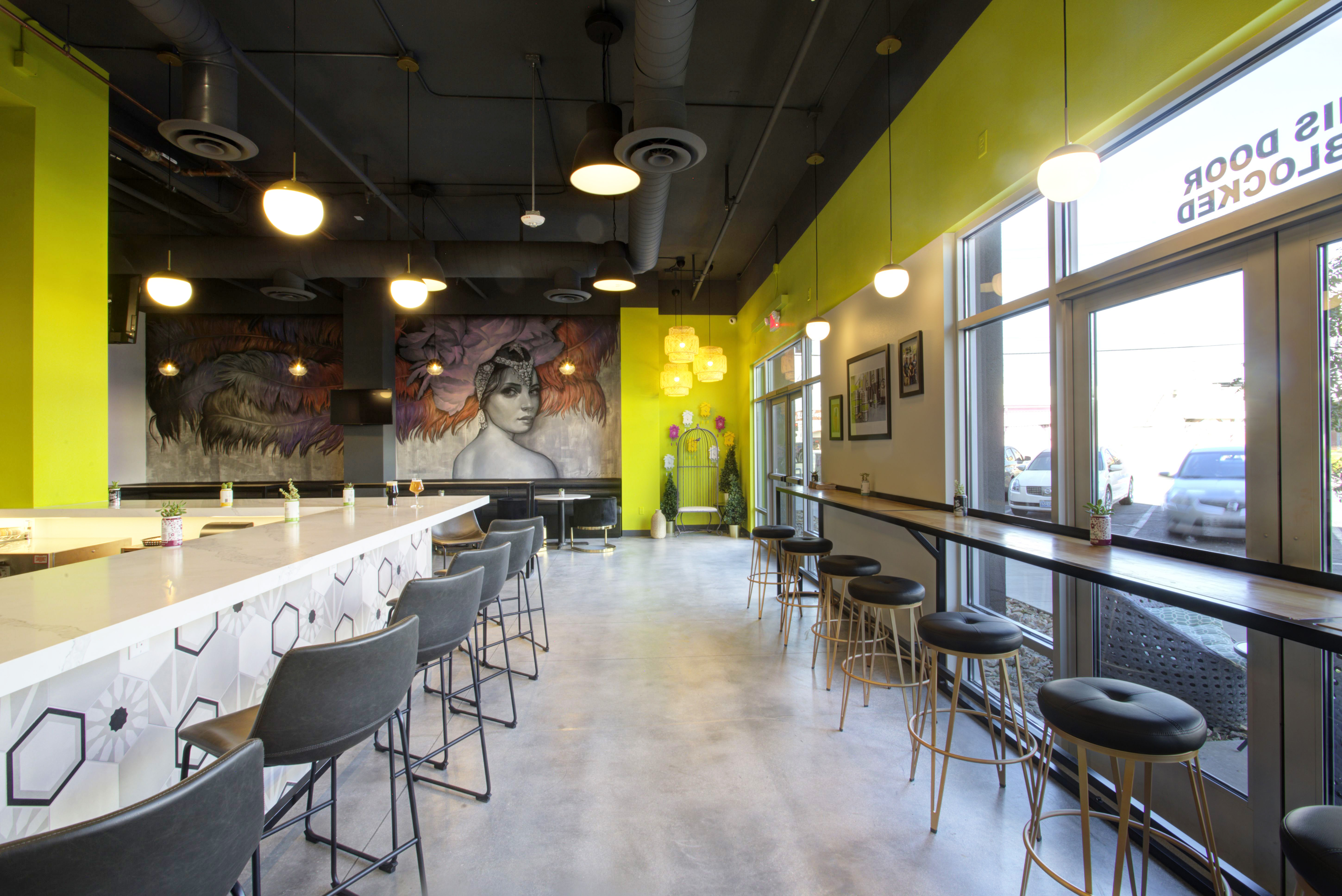 A taproom with a mural