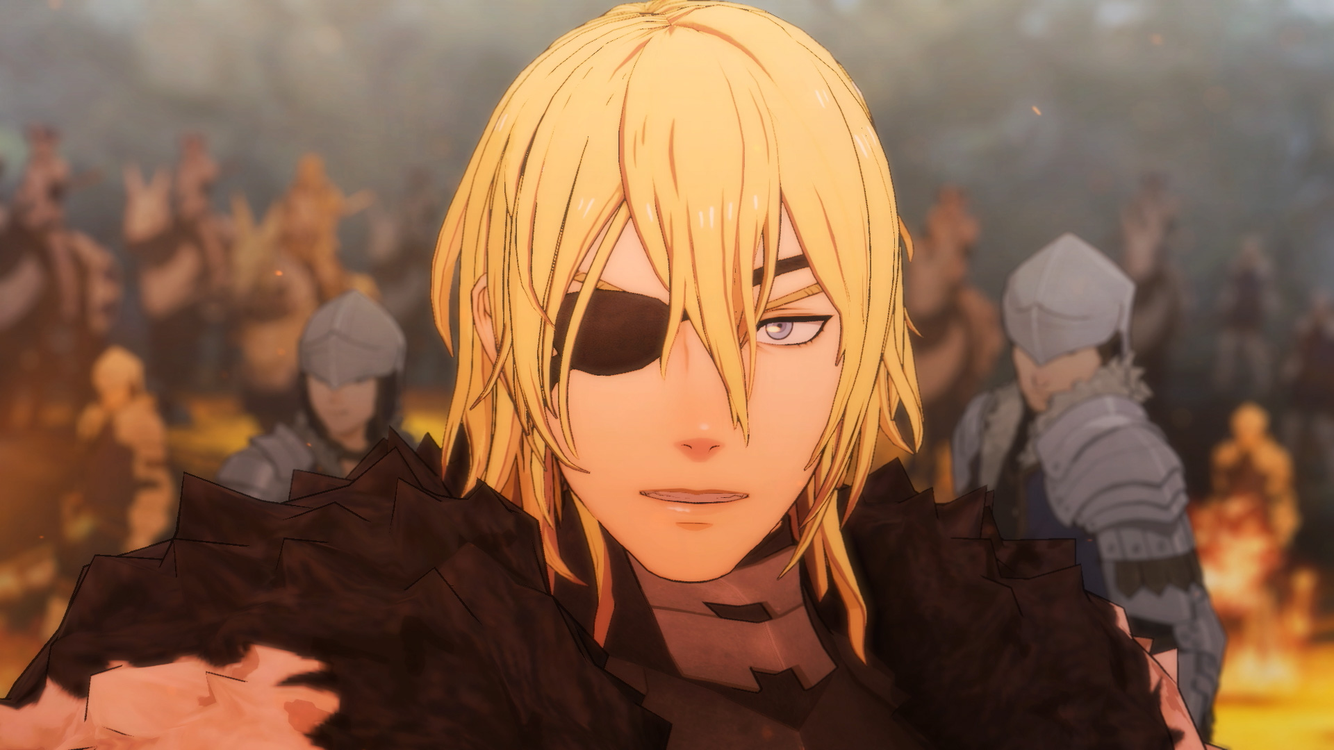 a man with an eye patch on a battlefield in Fire Emblem: Three Houses