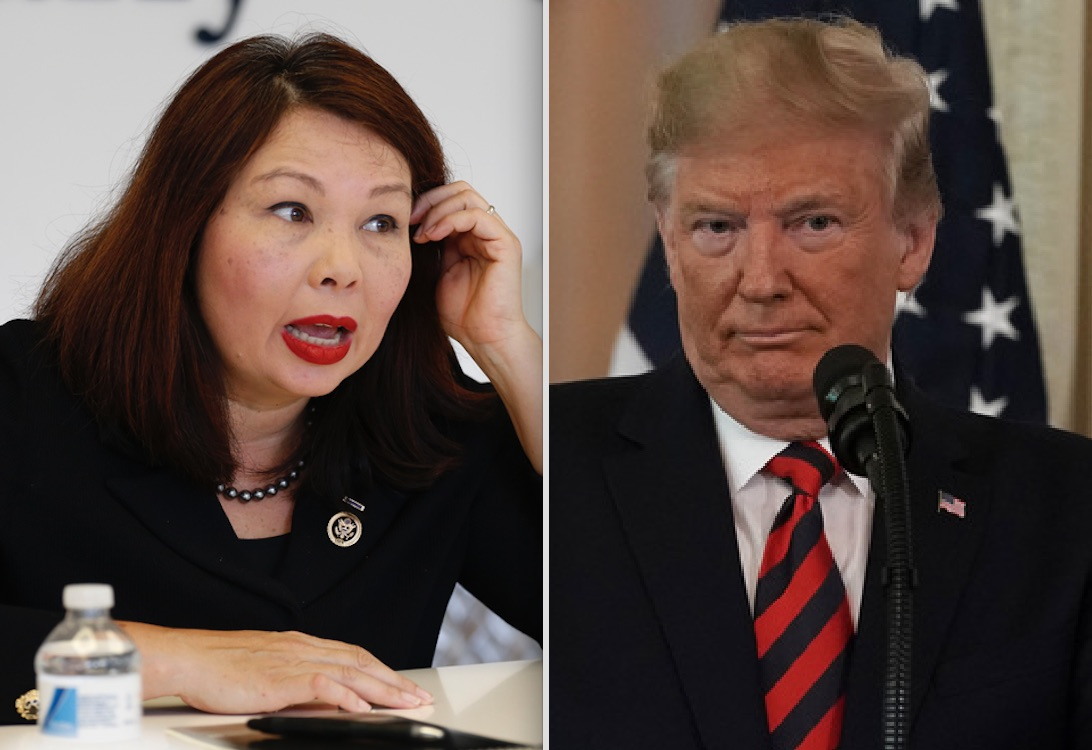 Tammy Duckworth, then a U.S. Senate candidate, left, in 2016; President Donald Trump, right, on Friday.