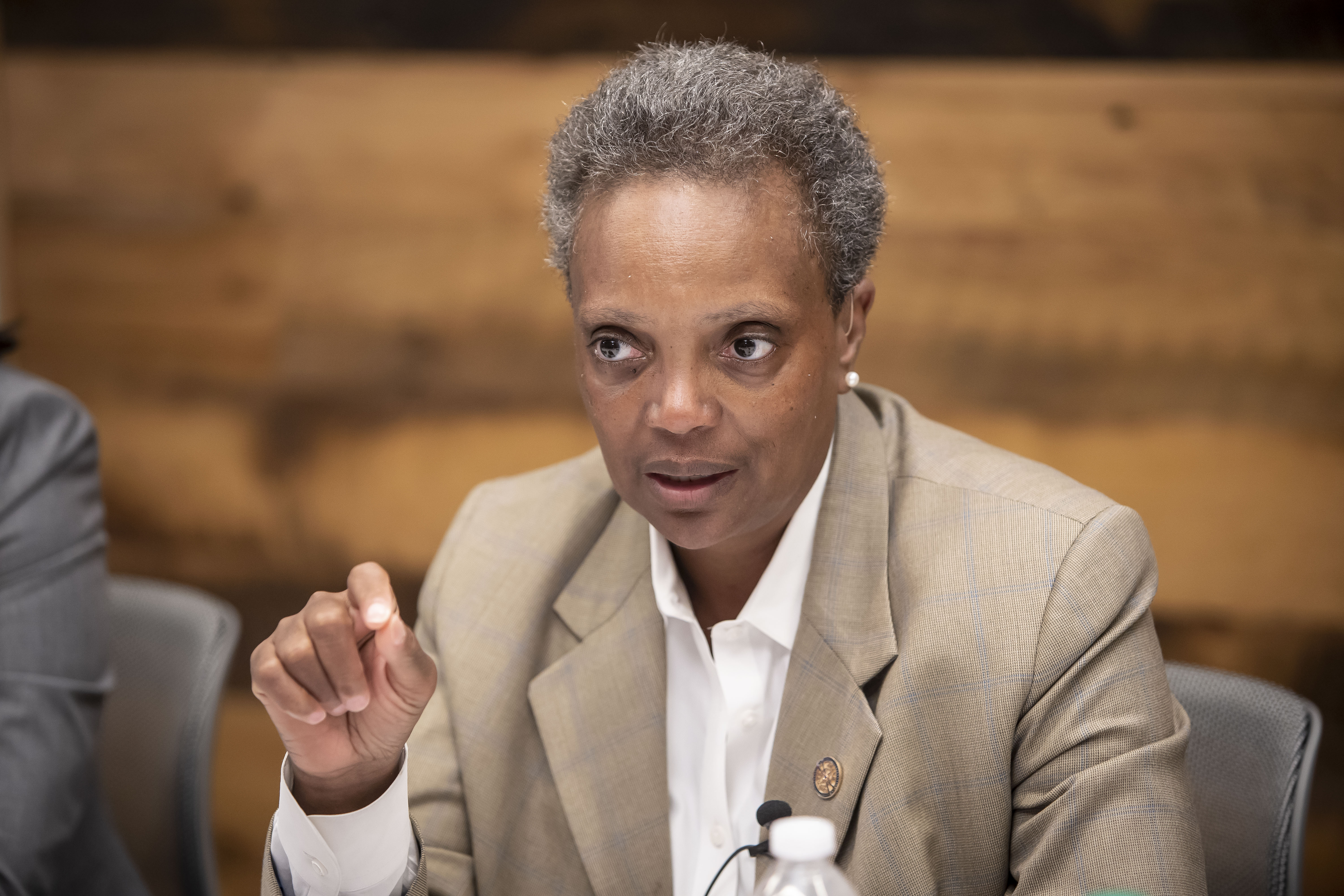 Mayor Lori Lightfoot talks city finances with the Sun-Times editorial board last month.