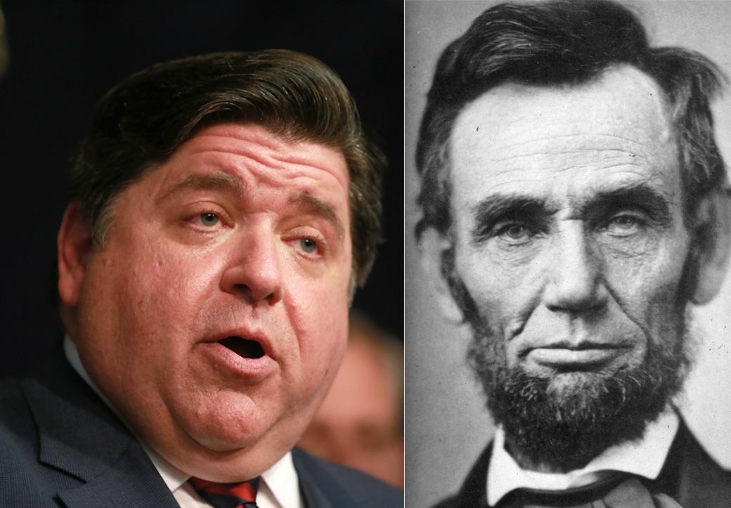 Gov. J.B. Pritzker, left, in June; Abraham Lincoln, right, in 1863. File photos.