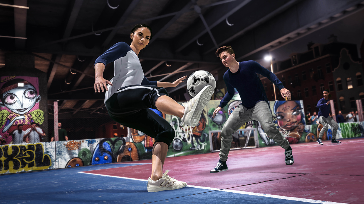 Soccer players compete in a screenshot from FIFA 20's new Volta Football mode