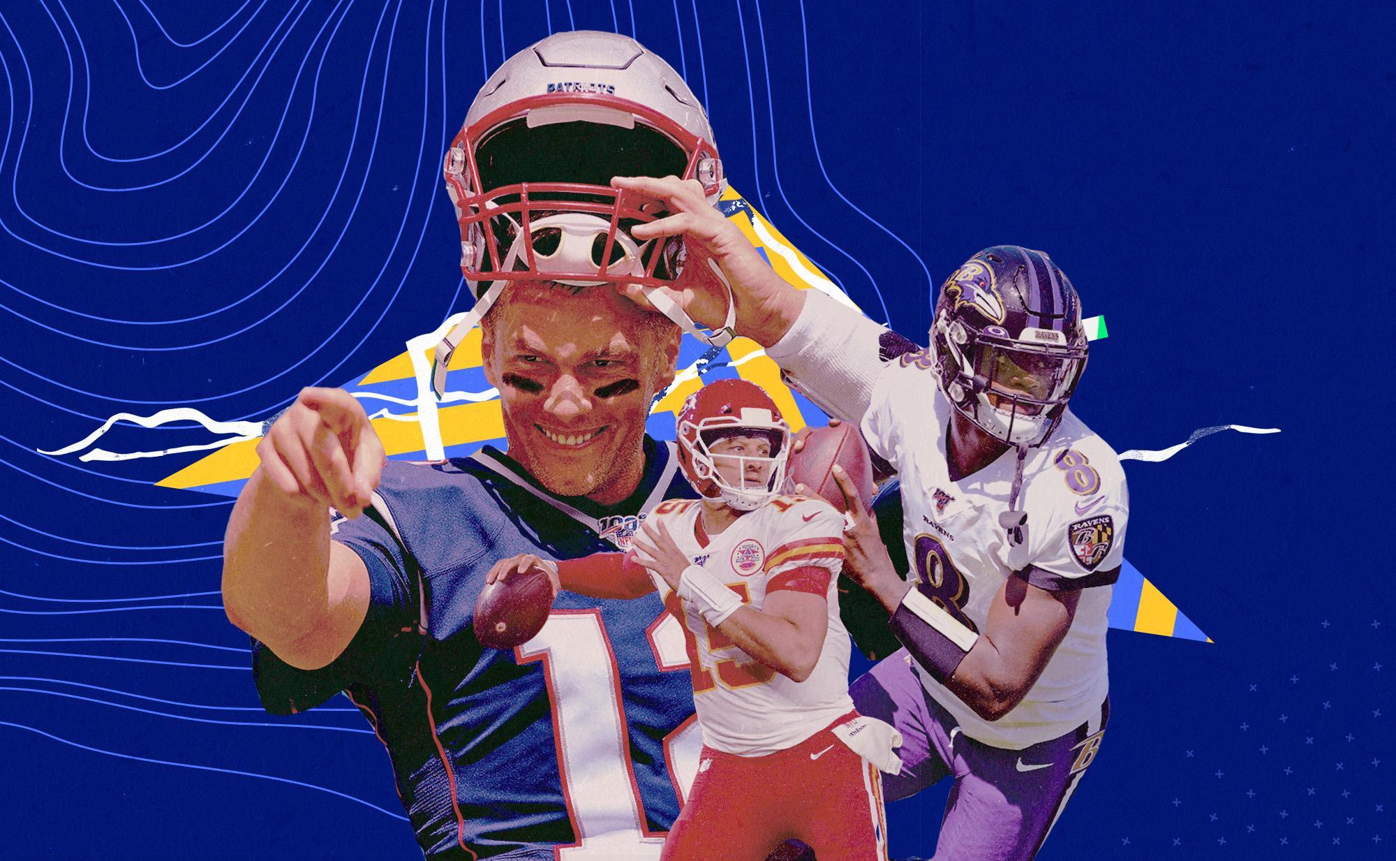 Chiefs QB Patrick Mahomes, Patriots QB Tom Brady, and Ravens QB Lamar Jackson superimposed upon a blue background.
